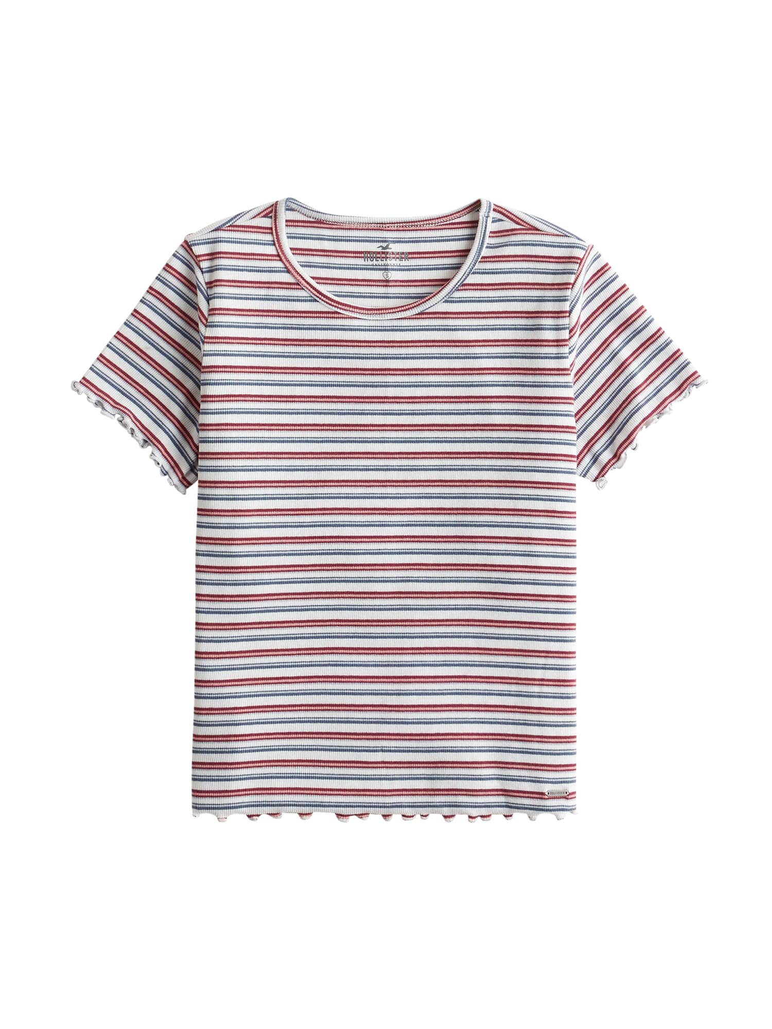 HOLLISTER Tričko 'LETTUCE'  bílá / modrá / červená