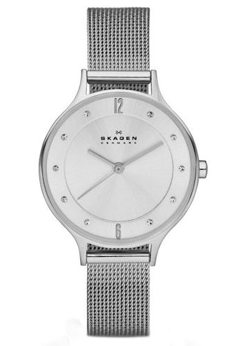 Nine & Company Damen Schwarz Lederband Silberfarben Wr Batterie Armband- & Taschenuhren Armbanduhren