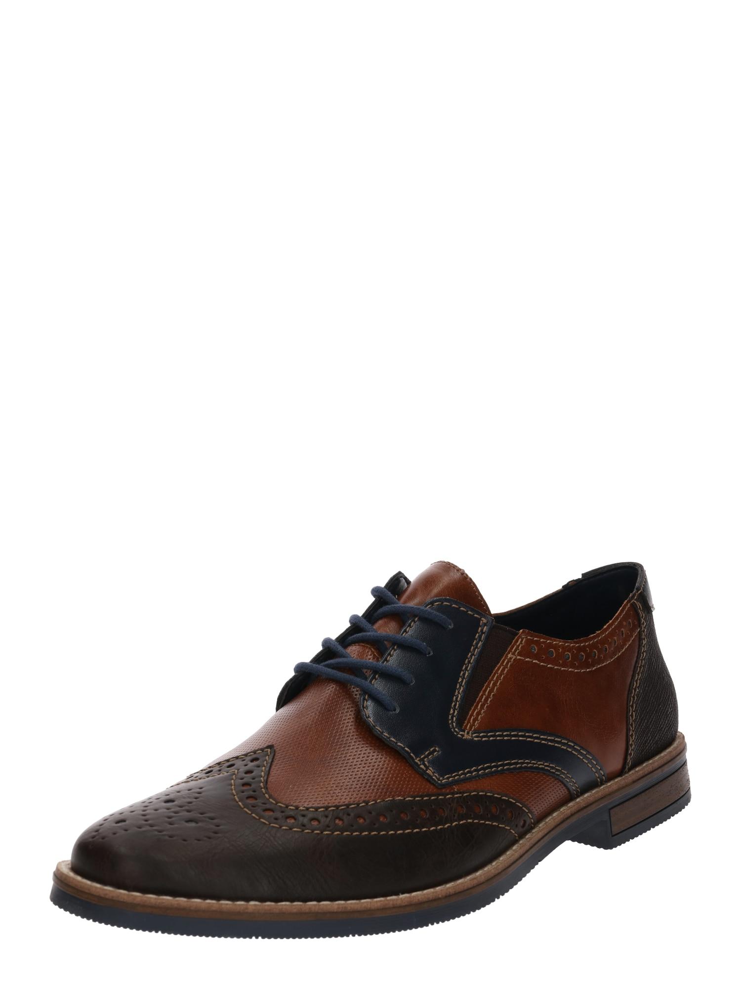 Šněrovací boty kobaltová modř kaštanově hnědá rezavě hnědá RIEKER