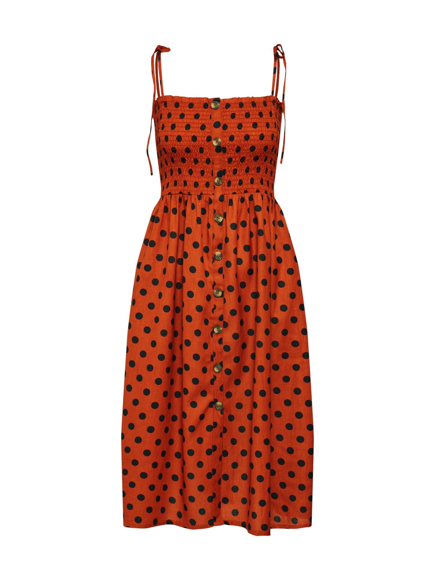 Letní šaty Dotty hnědá rezavě hnědá ONLY