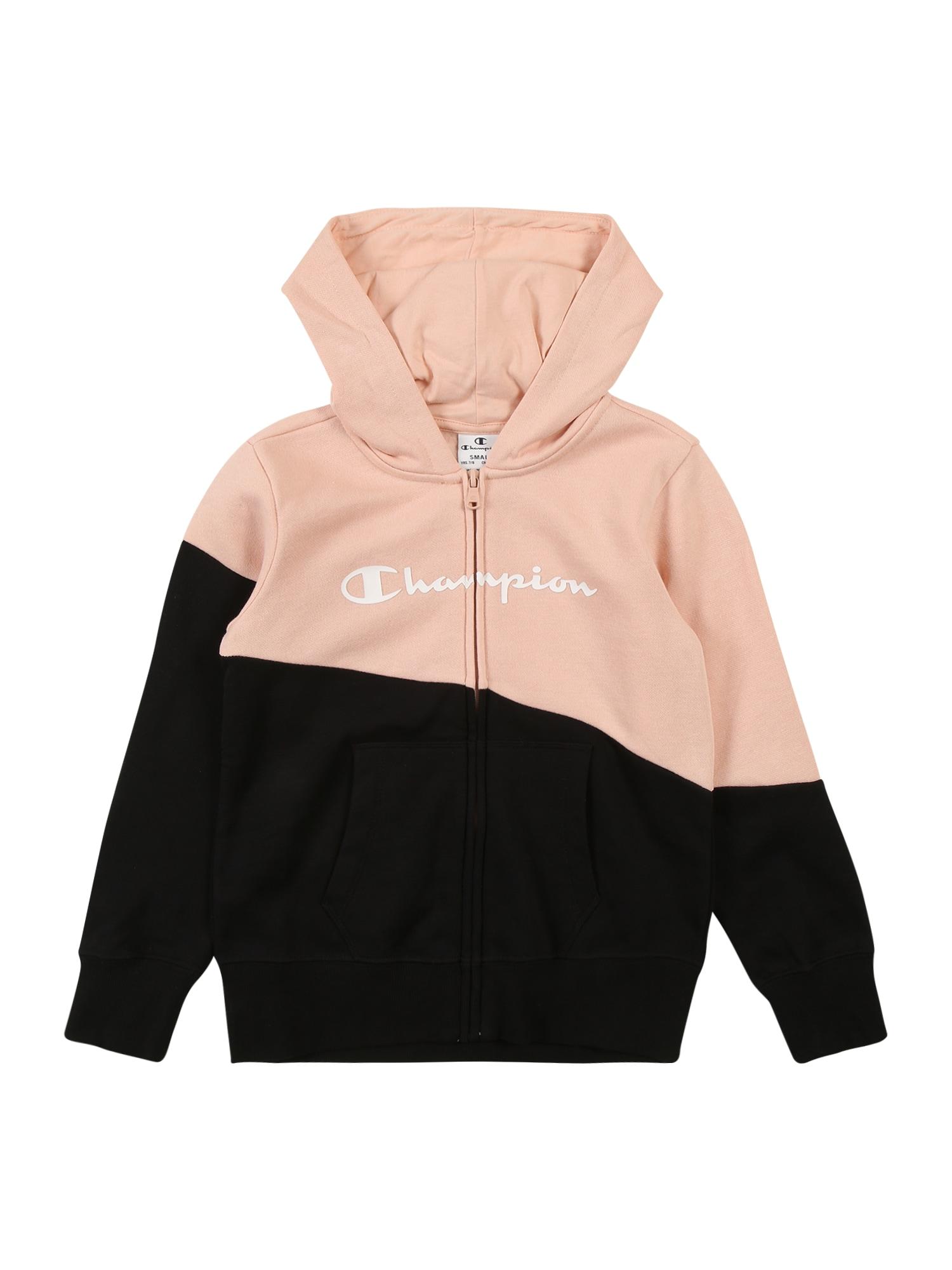 Champion Authentic Athletic Apparel Mikina 'Hooded Full Zip Sweatshirt'  růže / černá