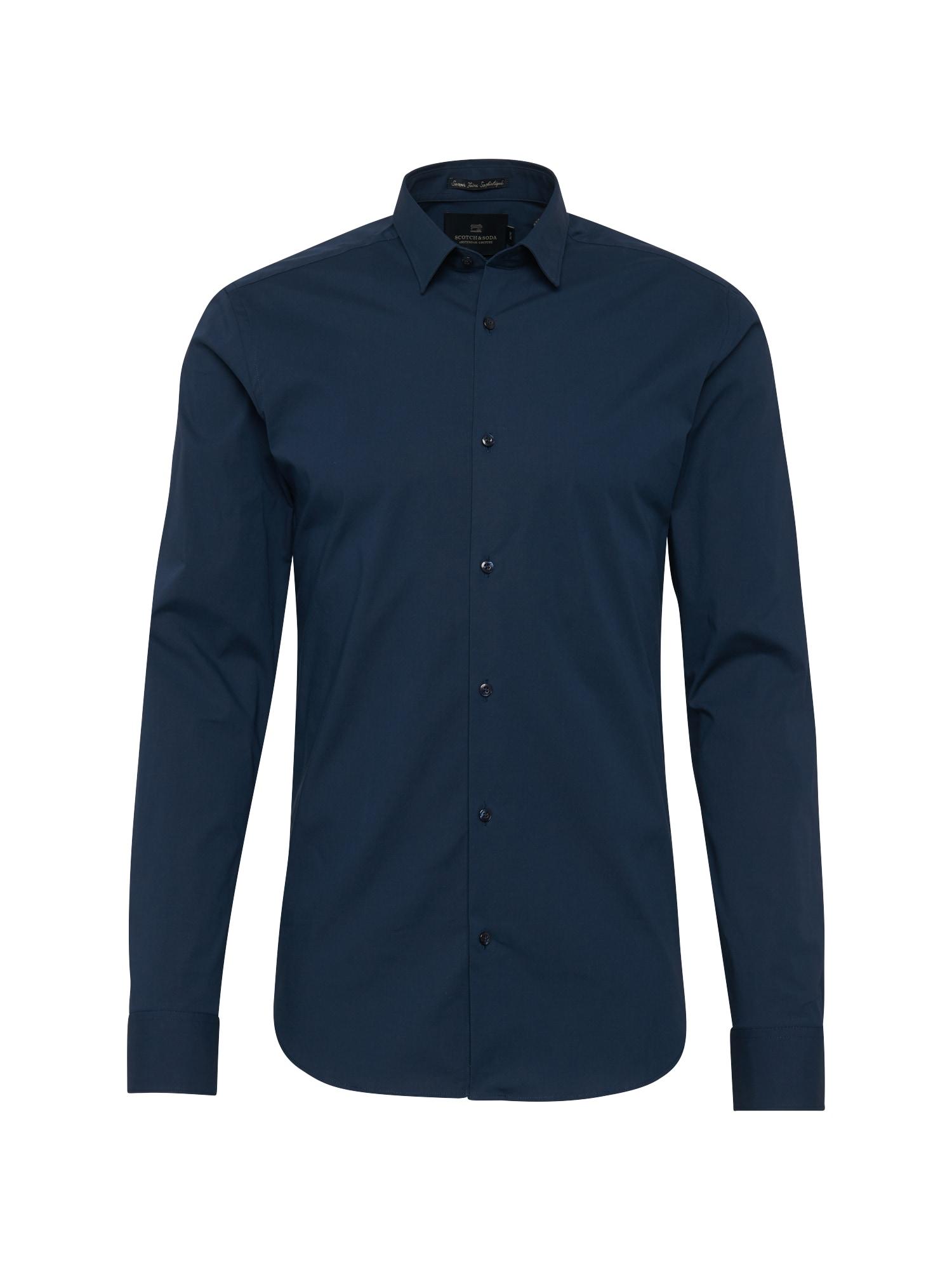 Společenská košile NOS - Classic longsleeve shirt in crispy cottonlycra qualit tmavě modrá SCOTCH & SODA