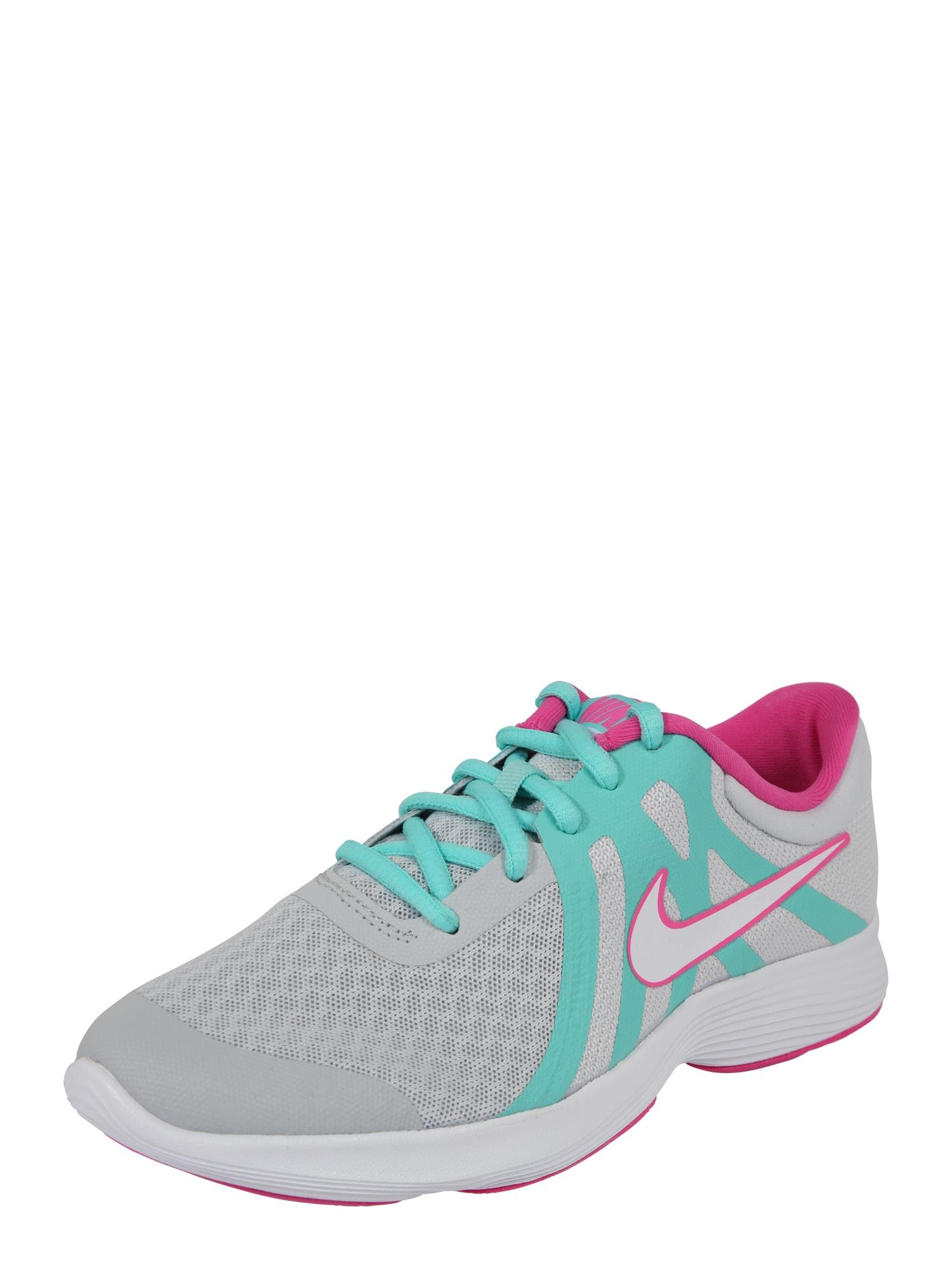 NIKE, Meisjes Sportschoen 'Revolution 4', turquoise / grijs / pink / wit