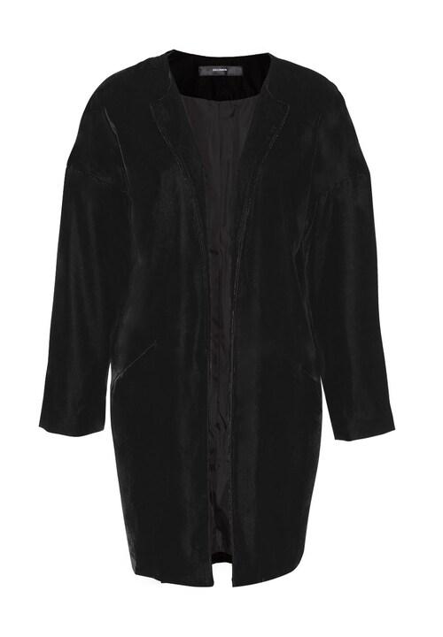 Edel glänzender Samt und ein cooles Design: Die HALLHUBER Oversize Jacke ist ein absolutes Key-Piece! Mit ihrer offenen, verschlusslosen Form und den überschnittenen Schultern wirkt die Samtjacke richtig lässig. Der relaxte Look wird vom