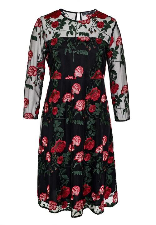 Mesh-Kleid mit Rosenstickerei