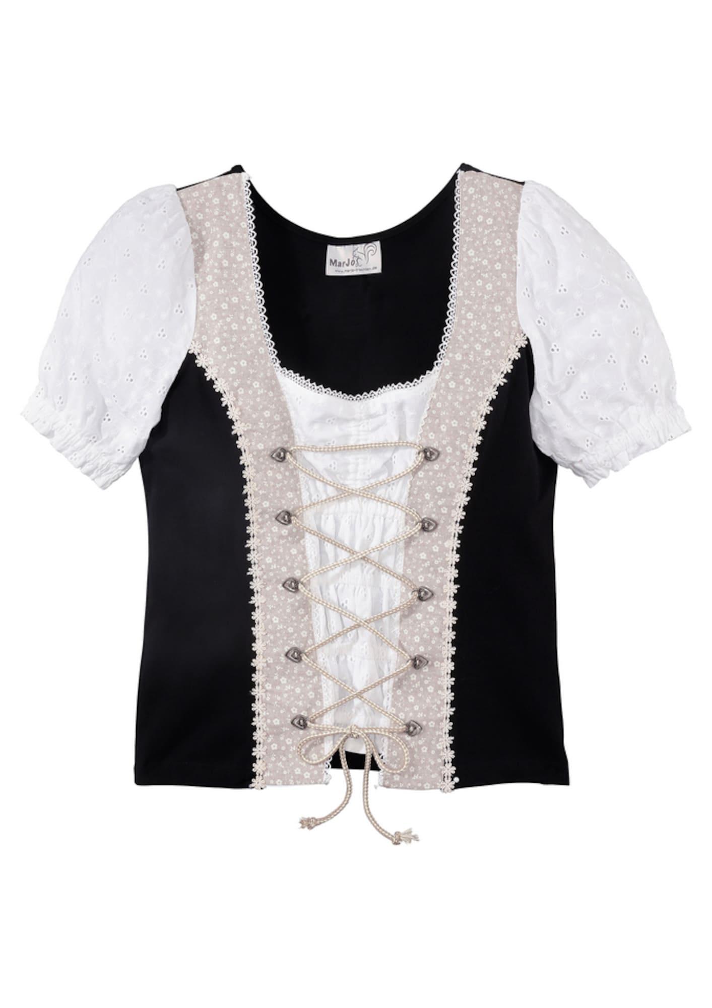 Krojové tričko pudrová černá bílá MARJO