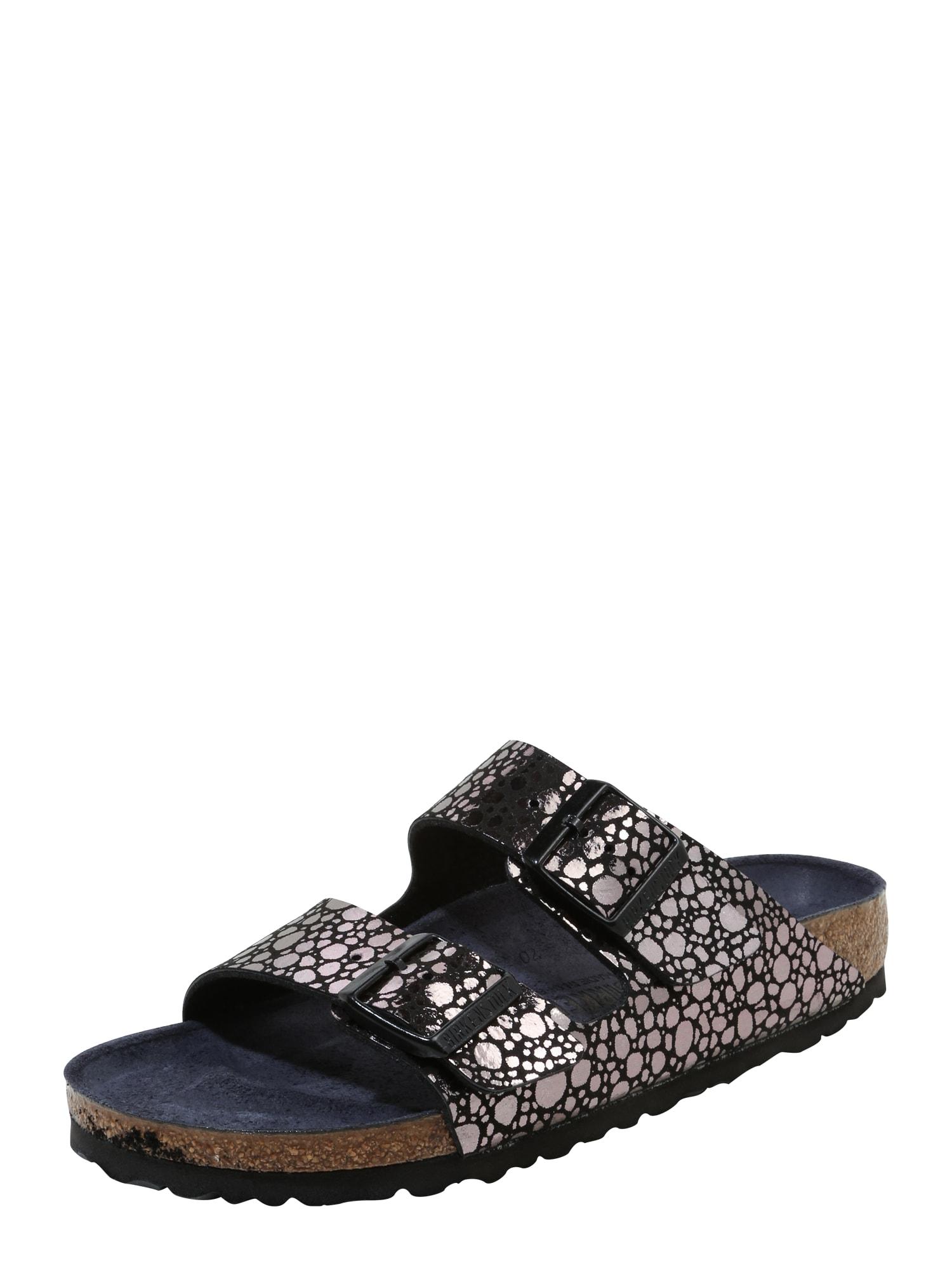 Pantofle Arizona černá stříbrná BIRKENSTOCK