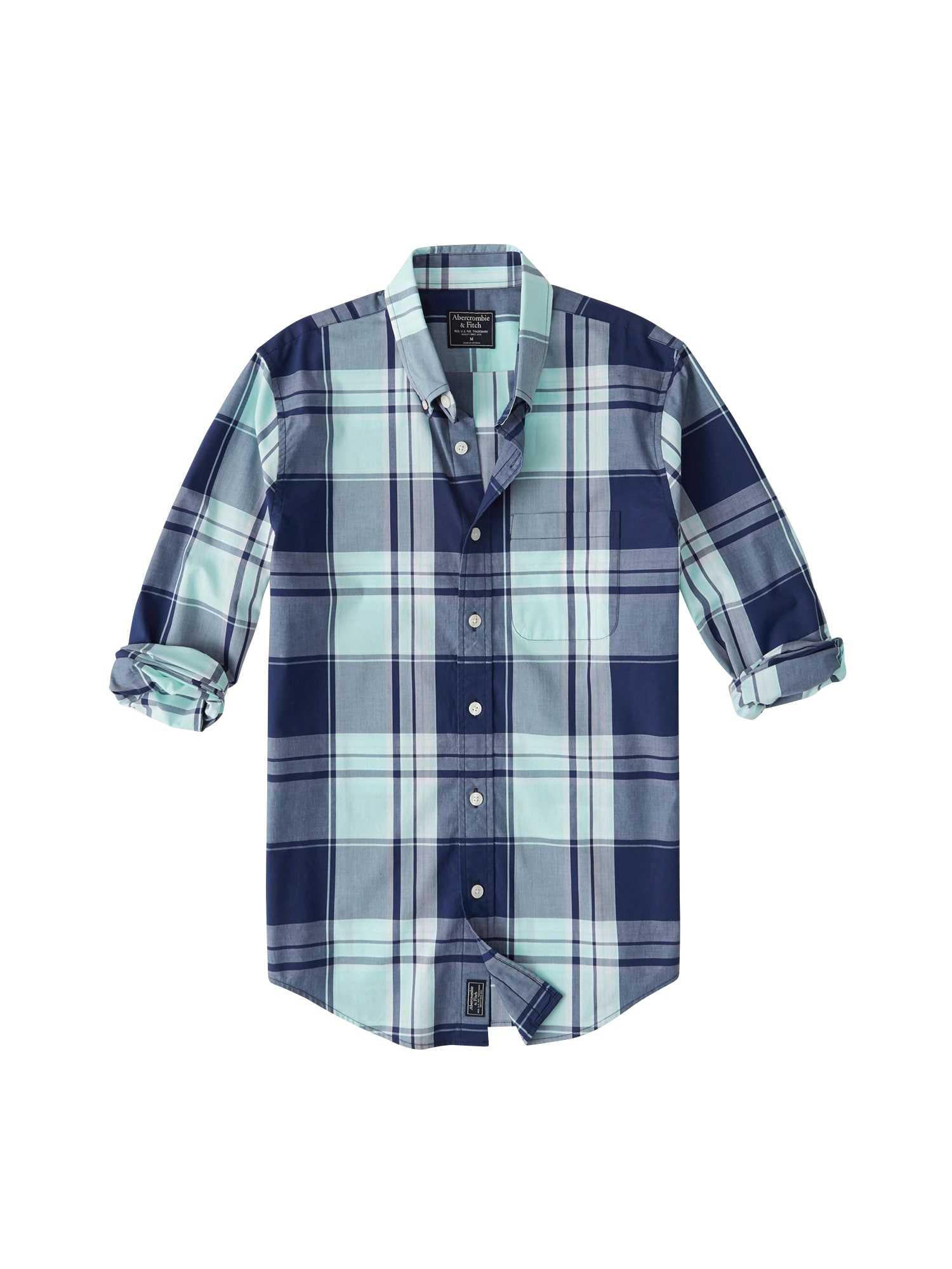 Košile PLAID POPLIN námořnická modř Abercrombie & Fitch