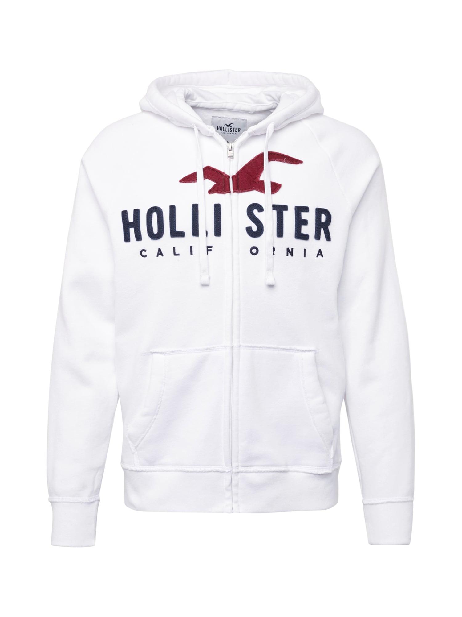 Mikina s kapucí bílá HOLLISTER