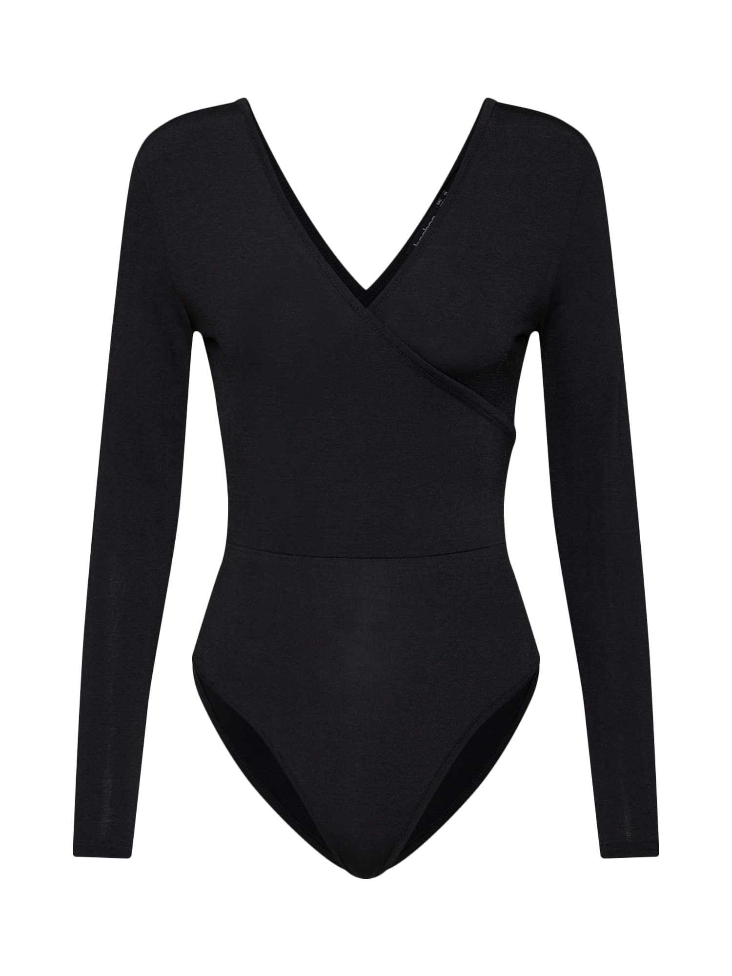 Tričko Slinky Wrap Bodysuit černá Boohoo