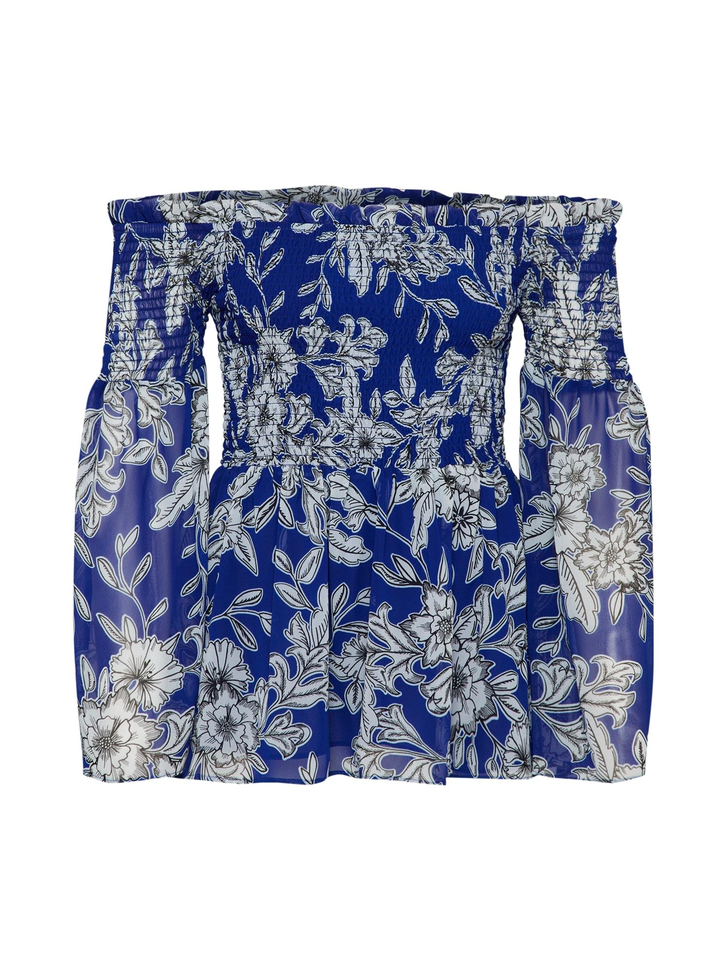 Tunika EMBER SHIRRED TOP modrá bílá Bardot
