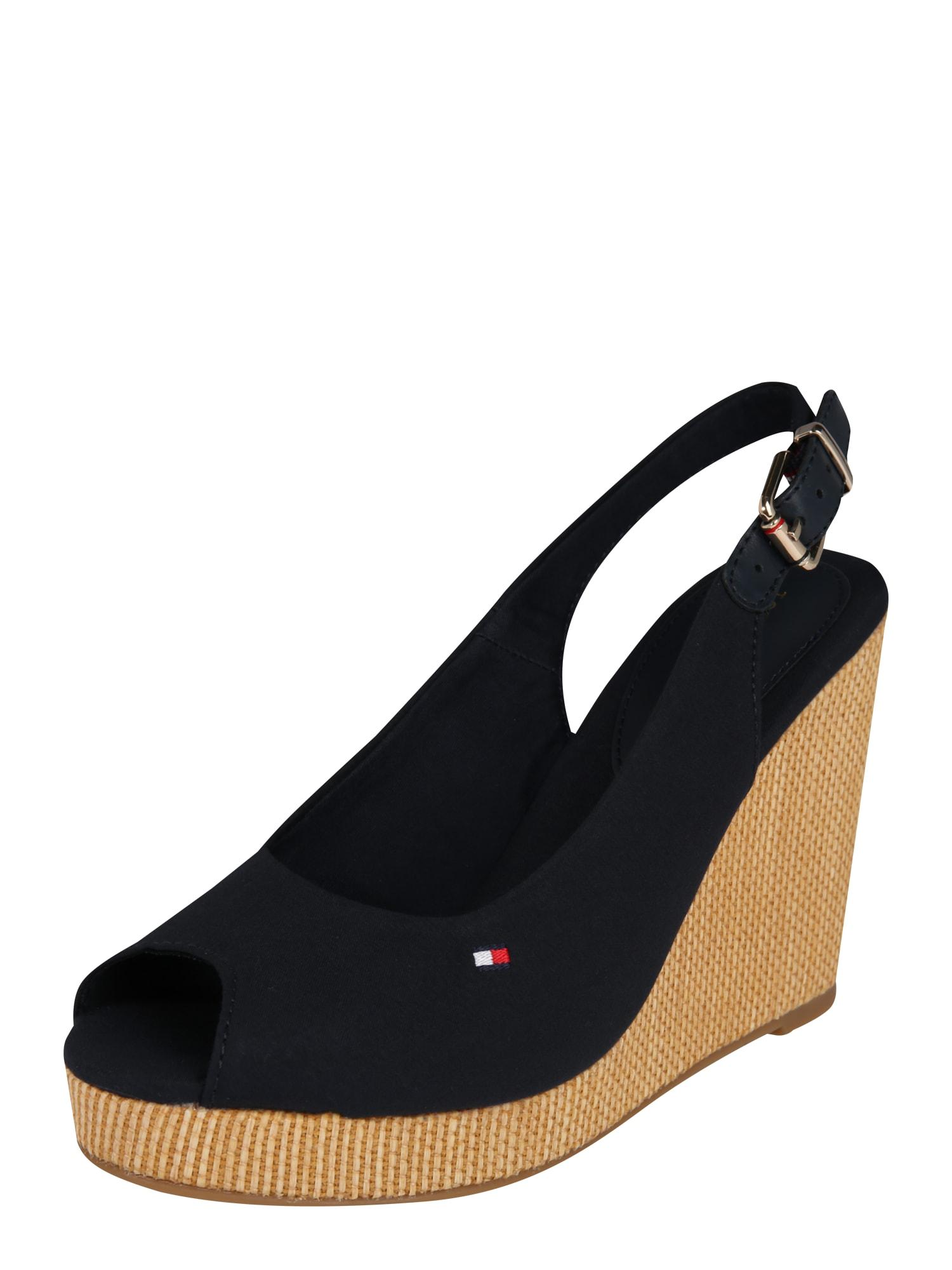 TOMMY HILFIGER Remienkové sandále 'ELENA 57D3'  béžová / tmavomodrá