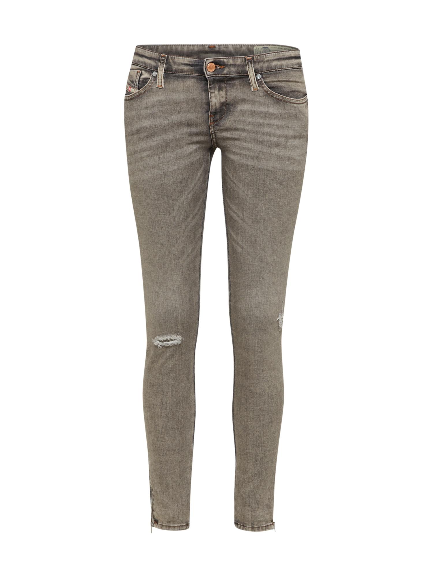 DIESEL Dames Jeans Skinzee-Low-Zip grijs