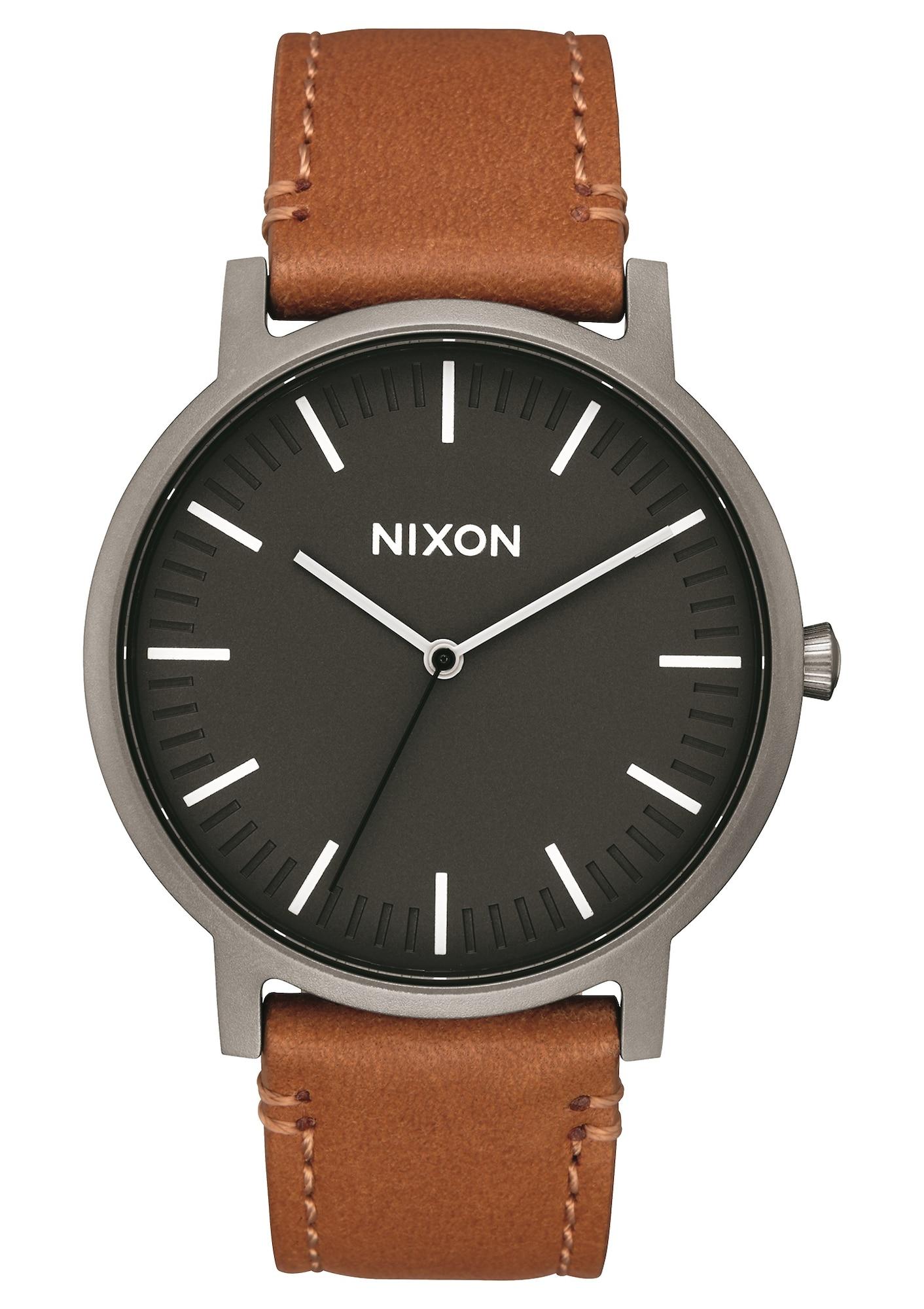 Analogové hodinky Porter Leather hnědá antracitová černá Nixon
