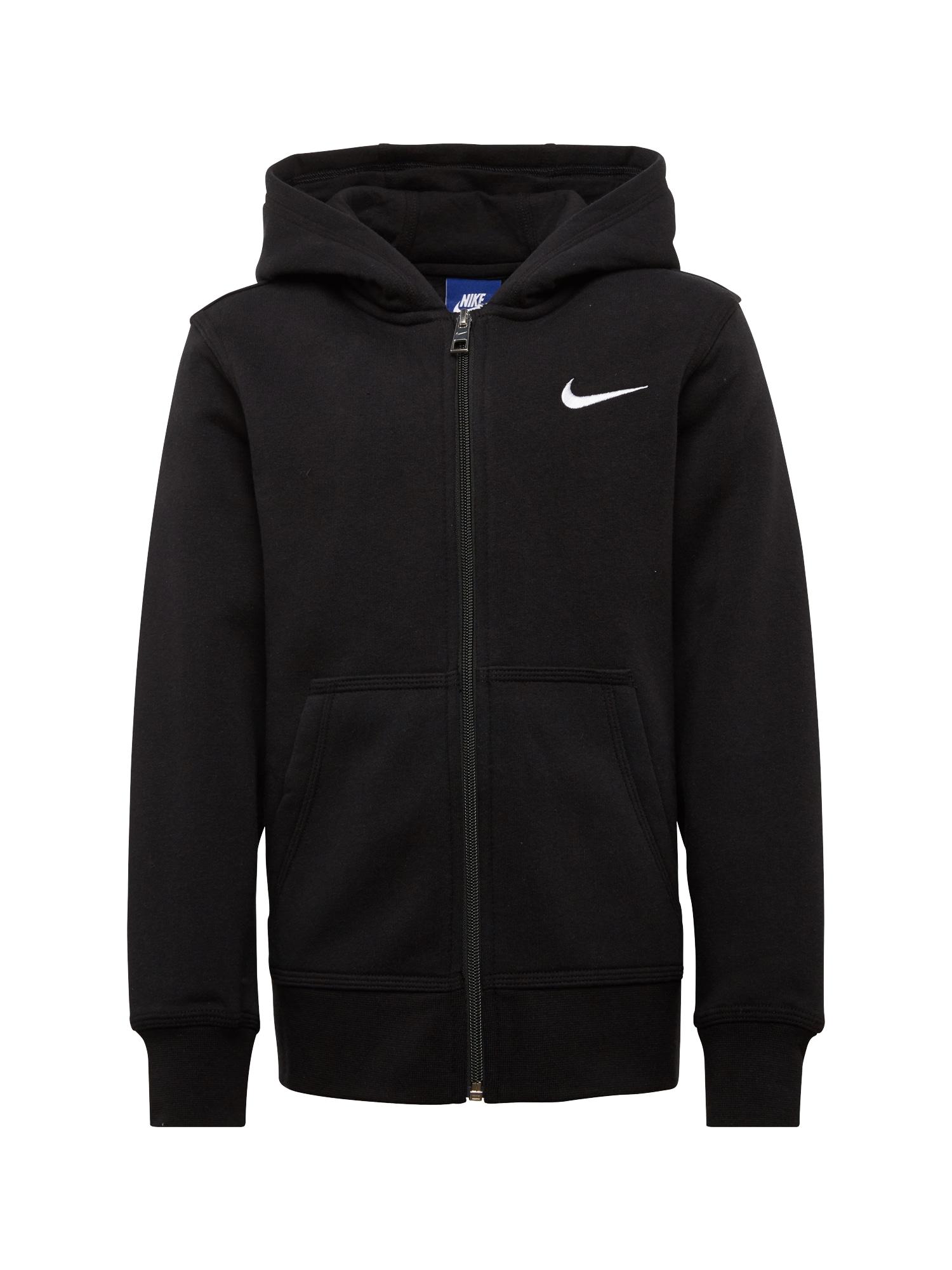 Fleecová mikina černá bílá Nike Sportswear