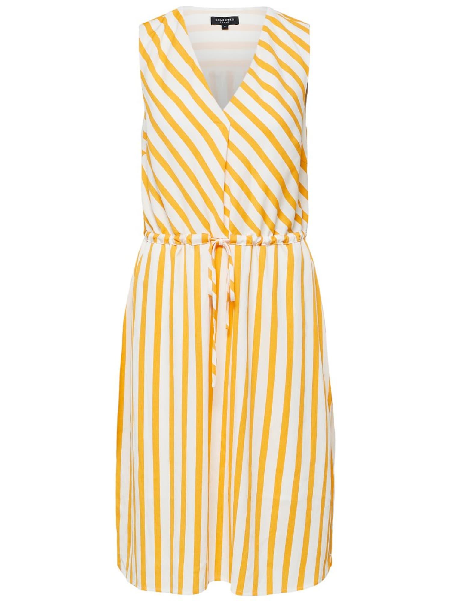 Letní šaty žlutá bílá SELECTED FEMME