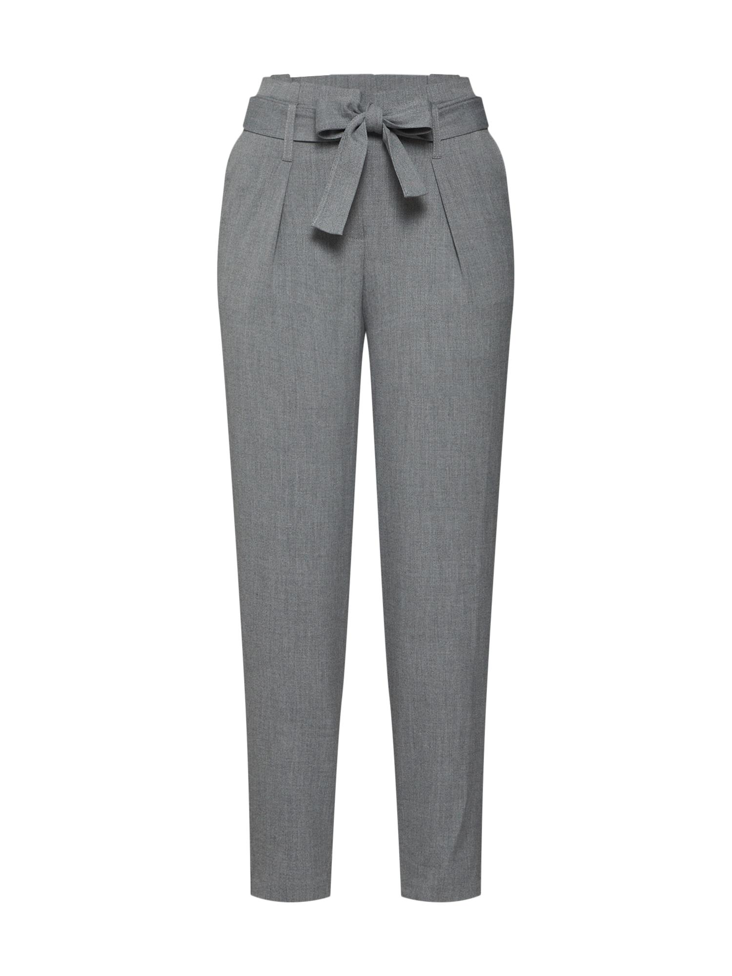 Kalhoty se sklady v pase světle šedá ONLY