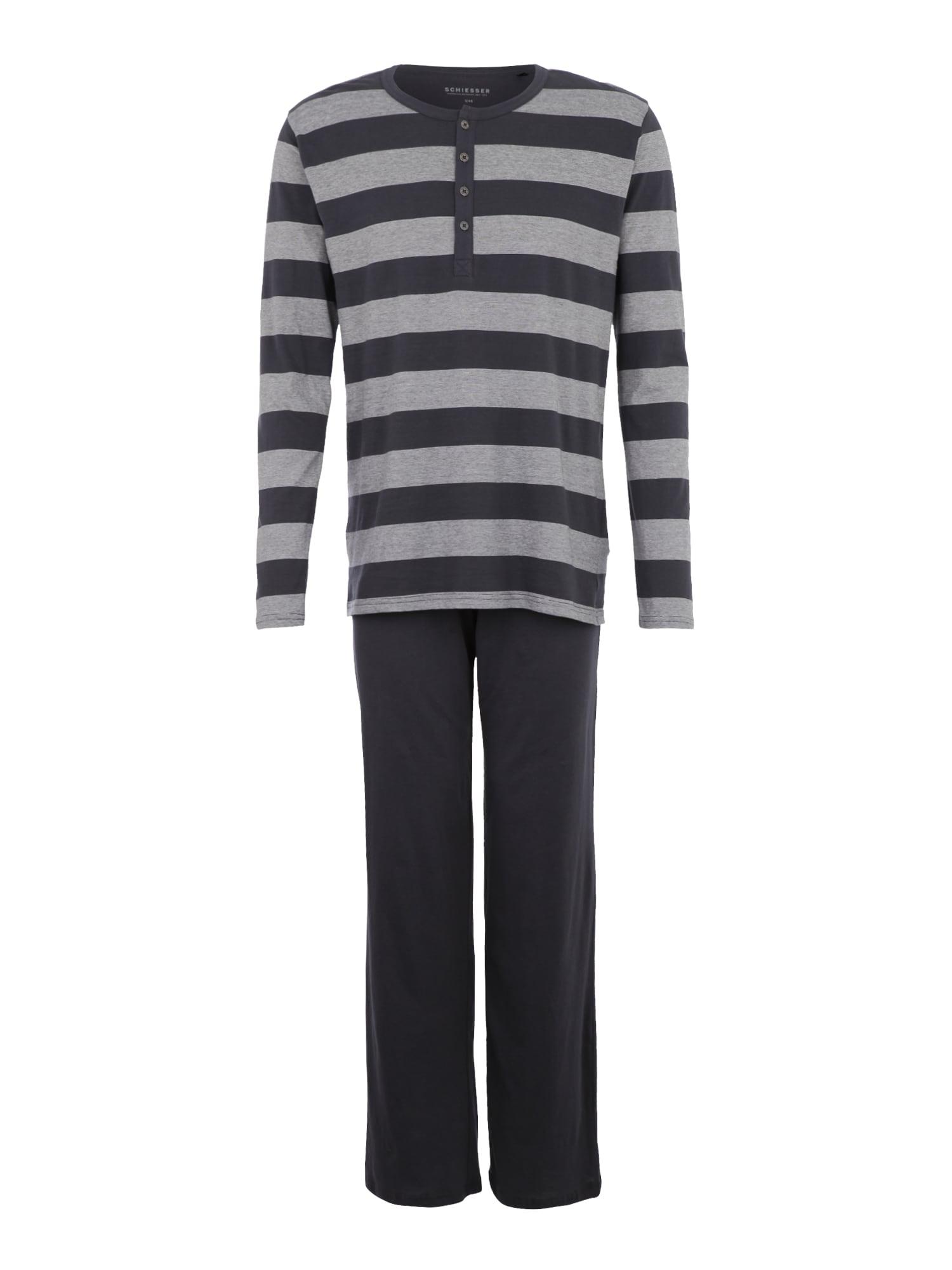 Pyžamo dlouhé šedá antracitová SCHIESSER