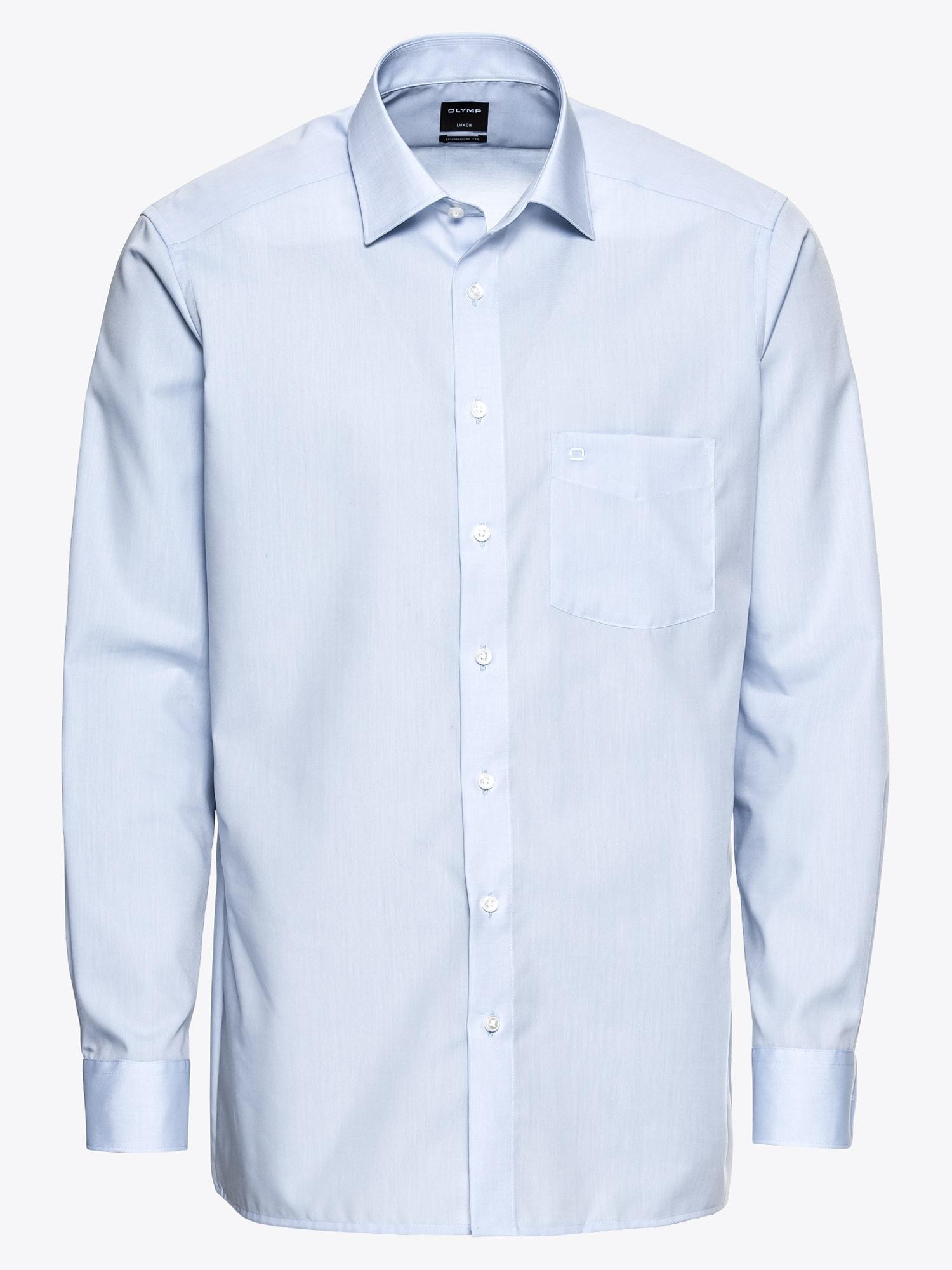 OLYMP, Heren Zakelijk overhemd 'Luxor Chambray', blauw