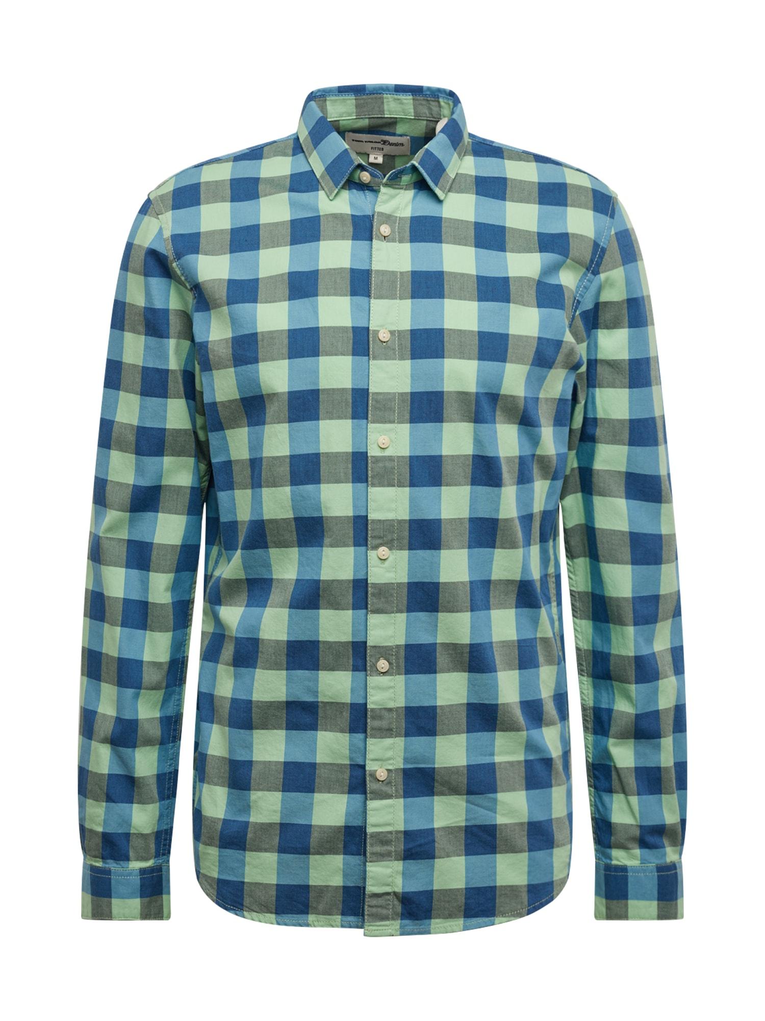 TOM TAILOR DENIM Košile  zelená / modrá