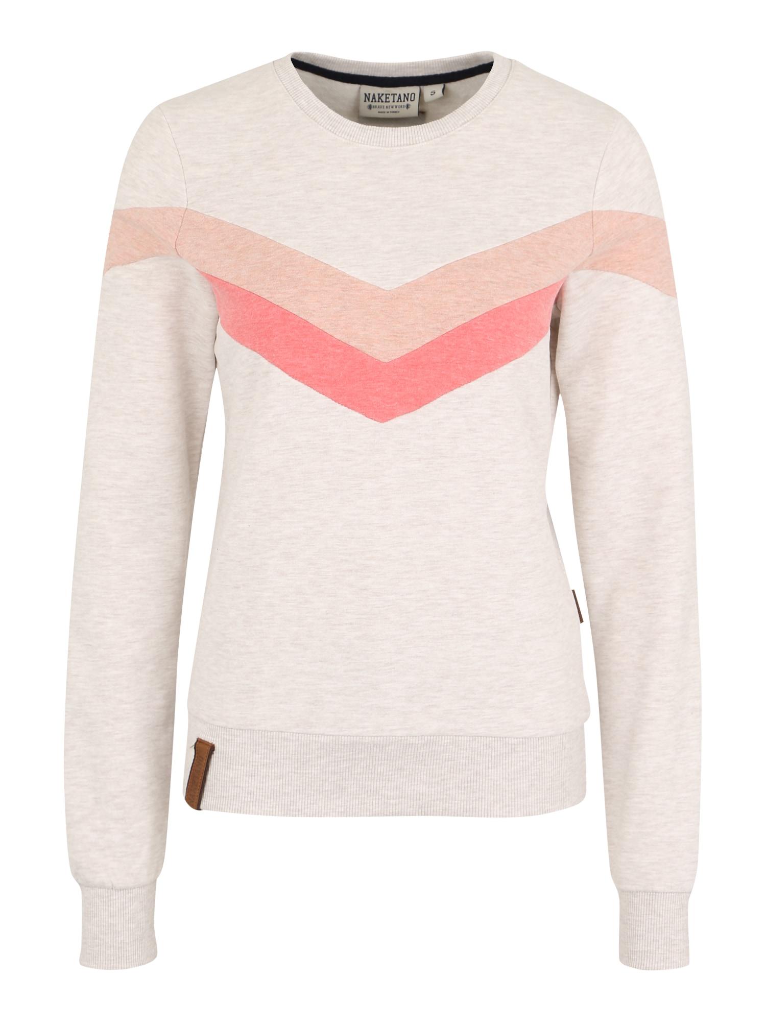 Naketano, Dames Sweatshirt 'Immer diese satzbau', zalm roze / wit gemleerd