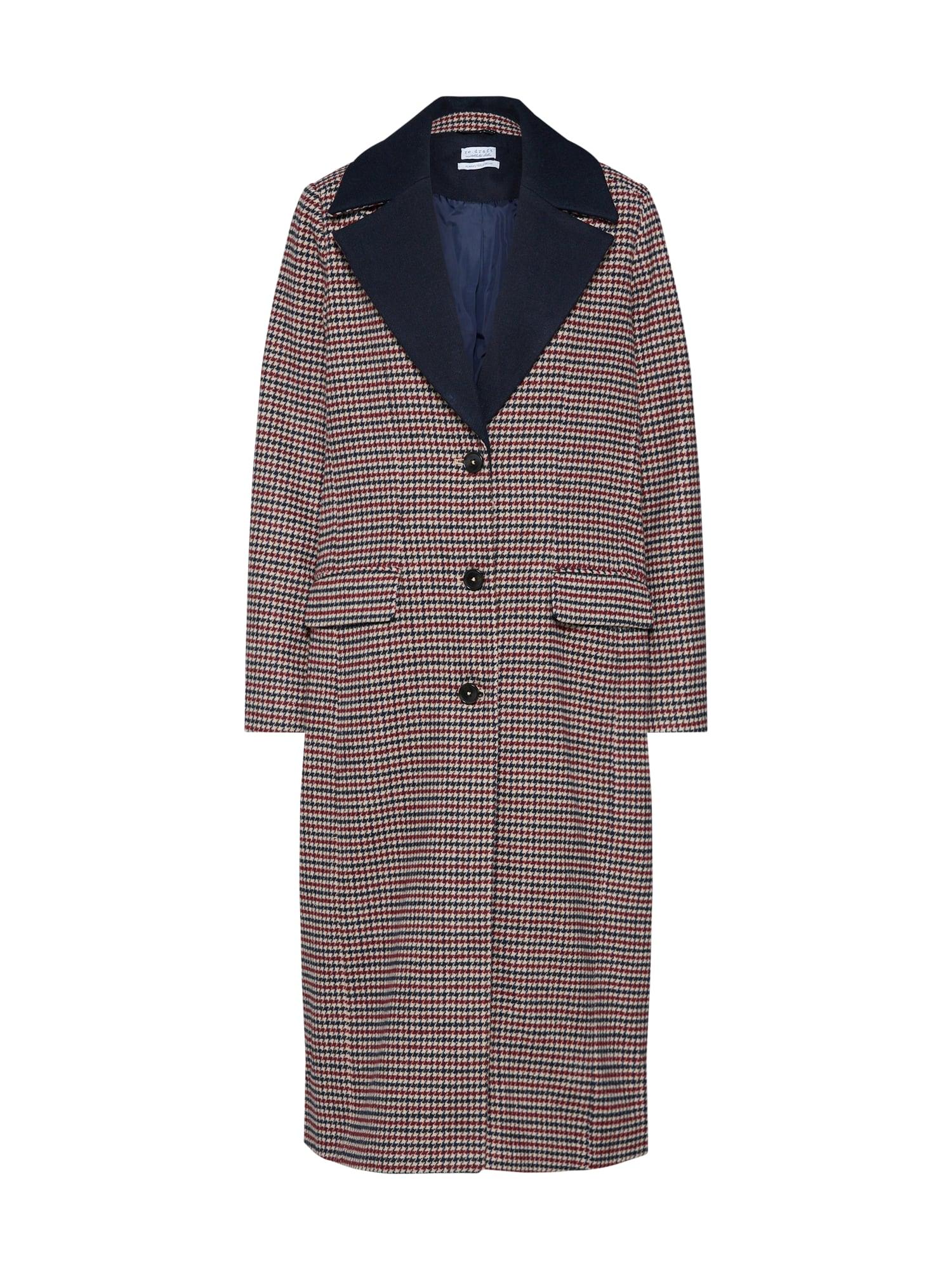 Přechodný kabát Houndstooth Coat champagne námořnická modř červená Re.draft