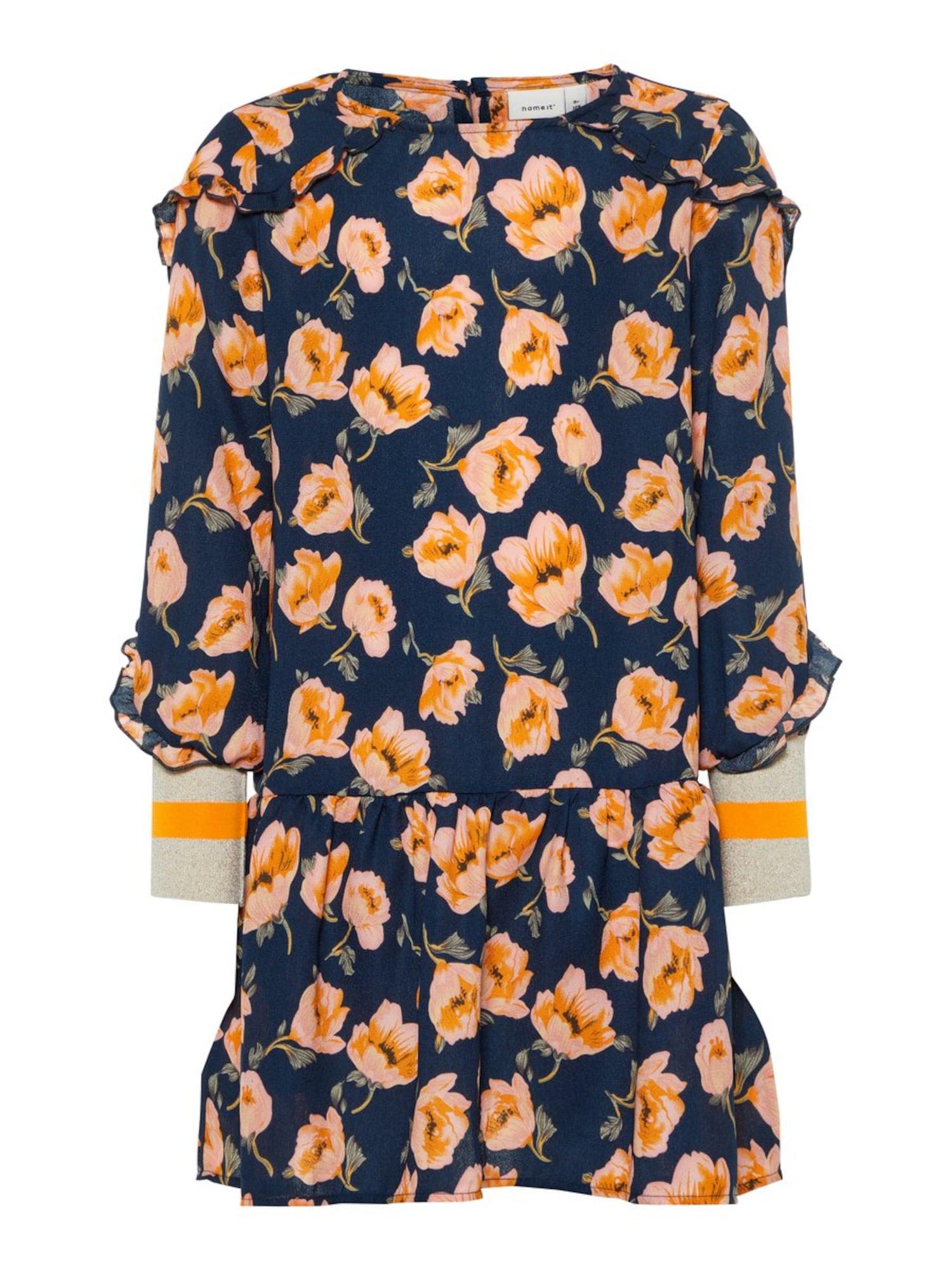 Name it Meisjes Jurk marine / sinaasappel / pasteloranje