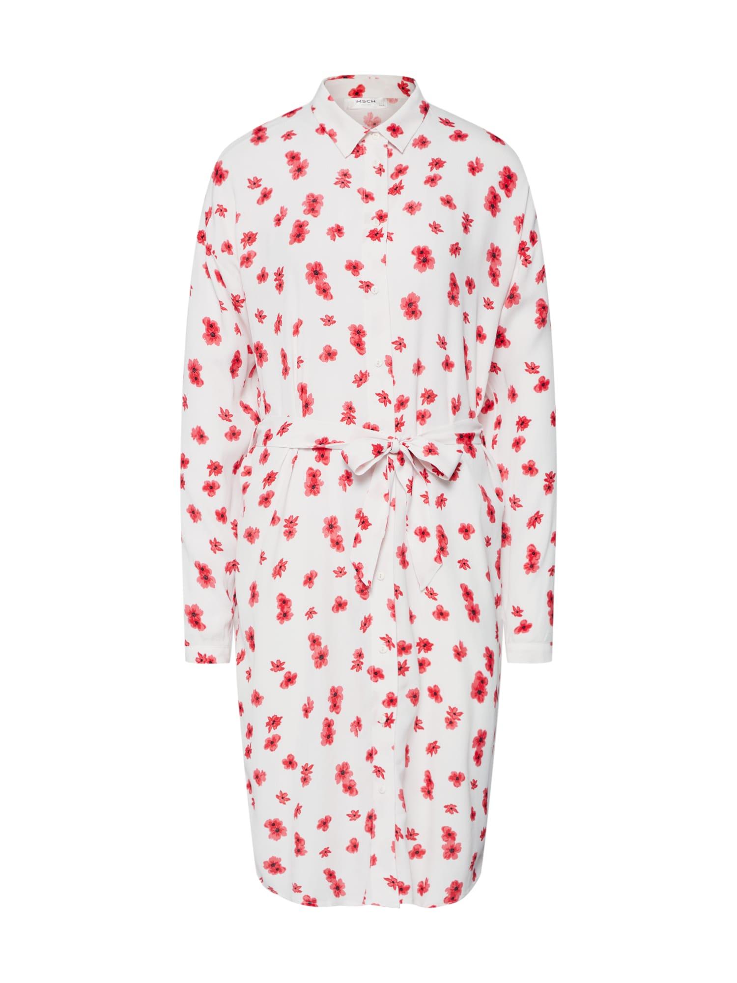 Košilové šaty Mosa Genni červená bílá MOSS COPENHAGEN
