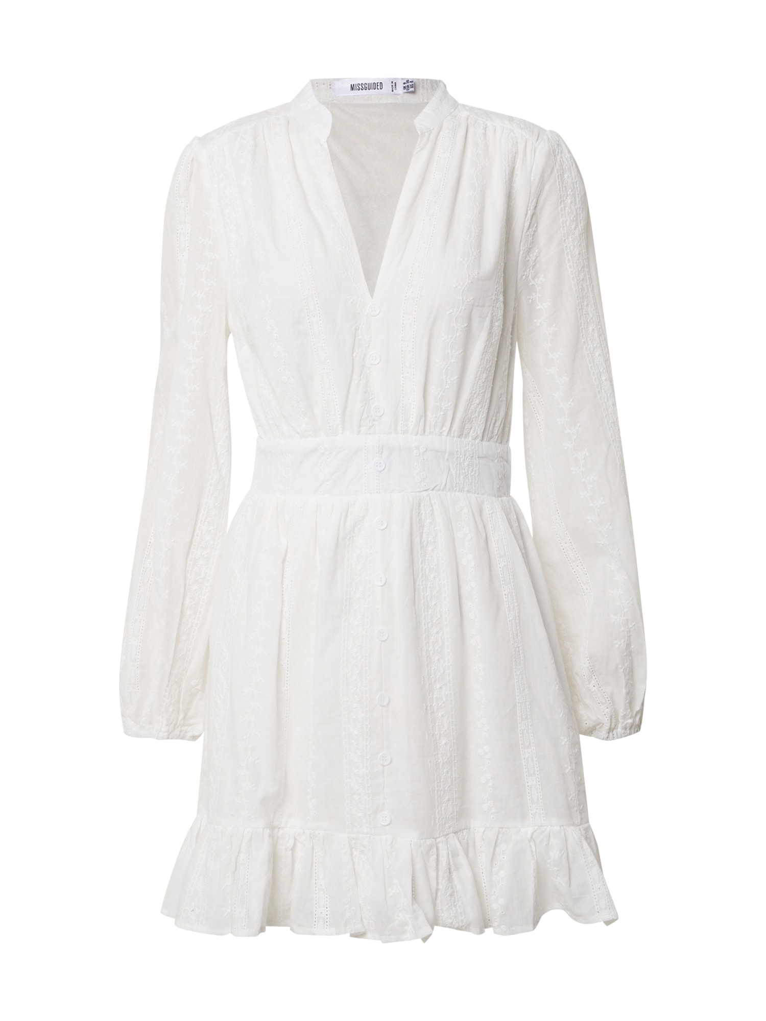 Missguided Košilové šaty 'BRODERIE FRILL HEM DRESS'  bílá