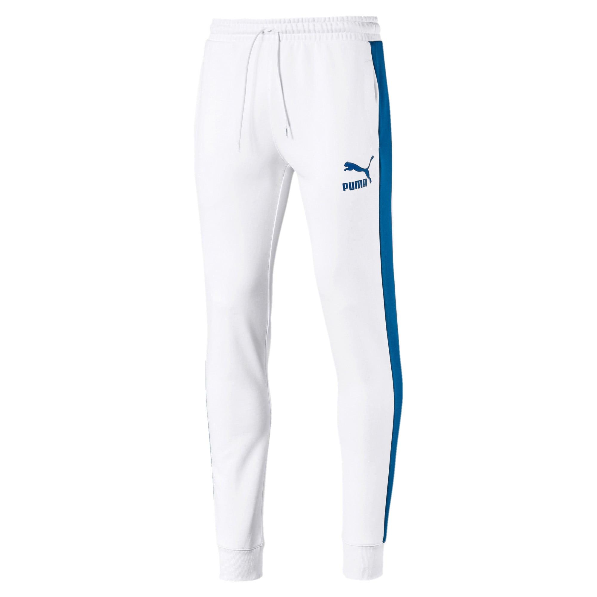 PUMA, Heren Broek 'Iconic T7', hemelsblauw / wit