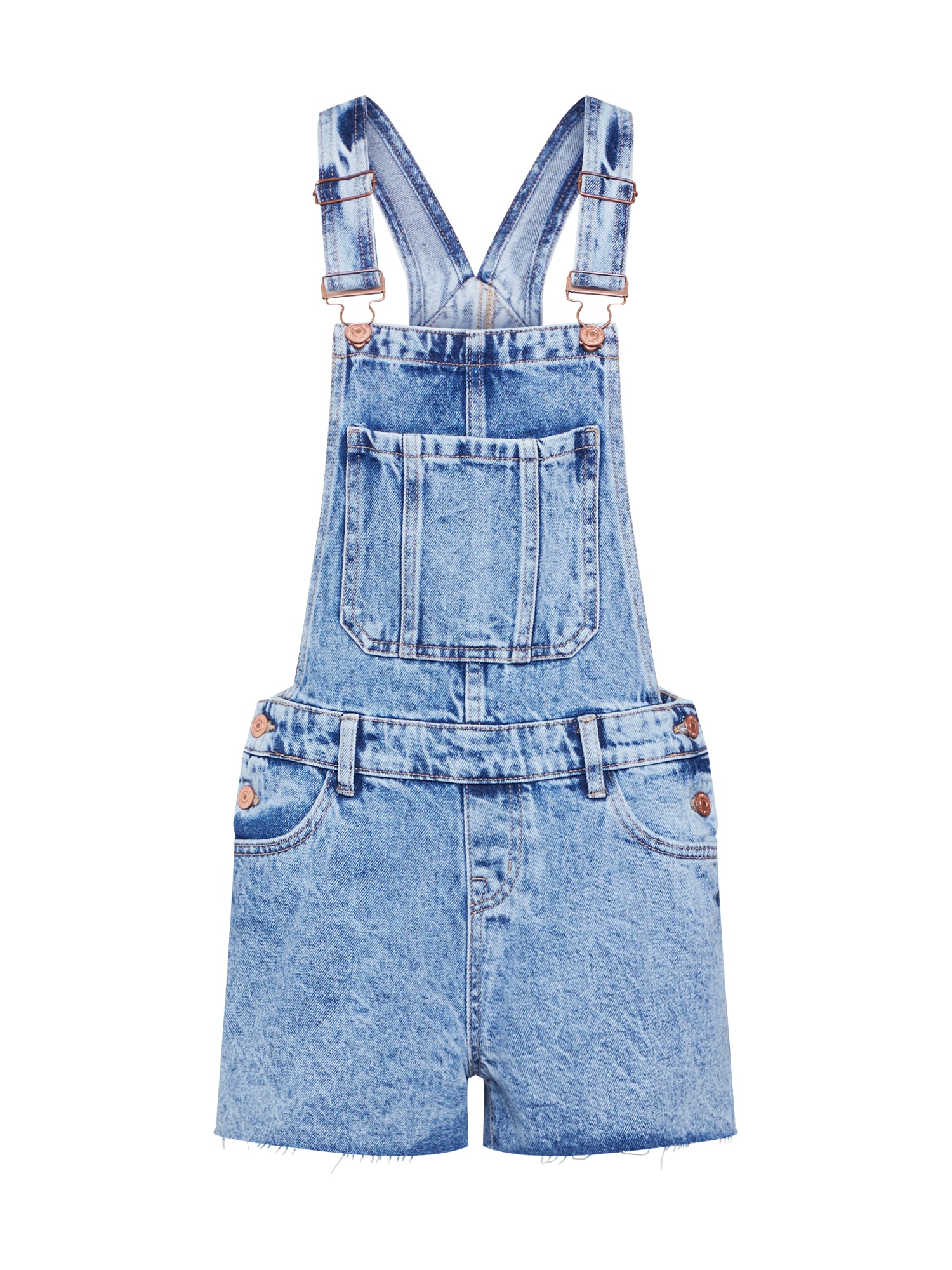 Džíny s laclem SHORT ACID CUT OFF HEM DUNGAREE LUDACRIS modrá džínovina NEW LOOK