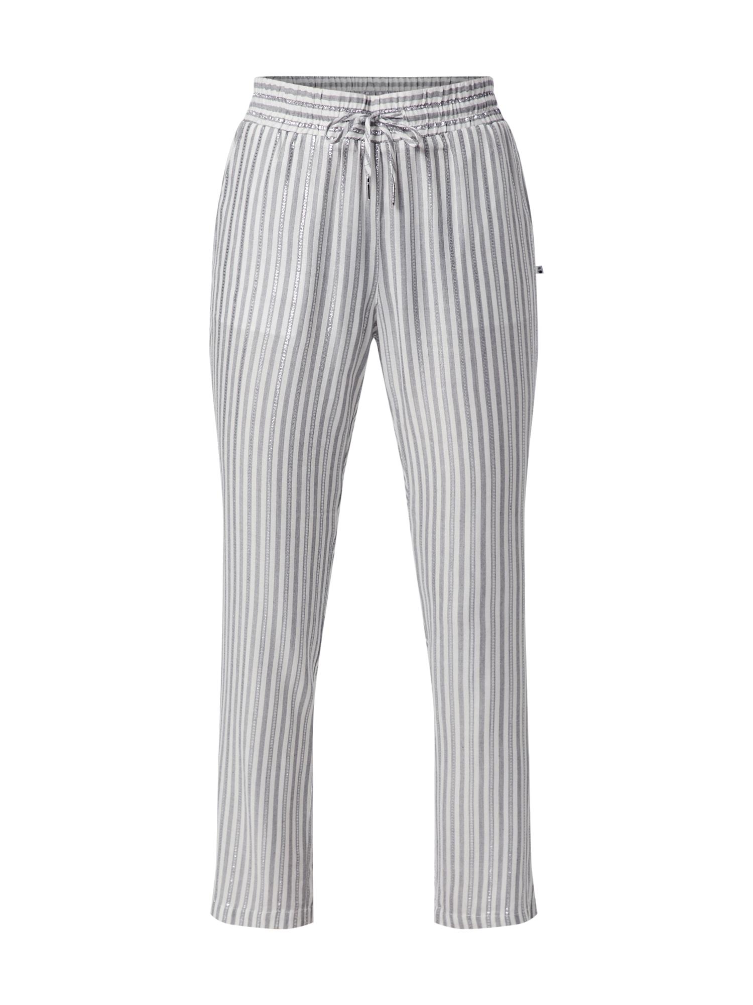 Kalhoty BARBARA stříbrně šedá bílá Le Temps Des Cerises
