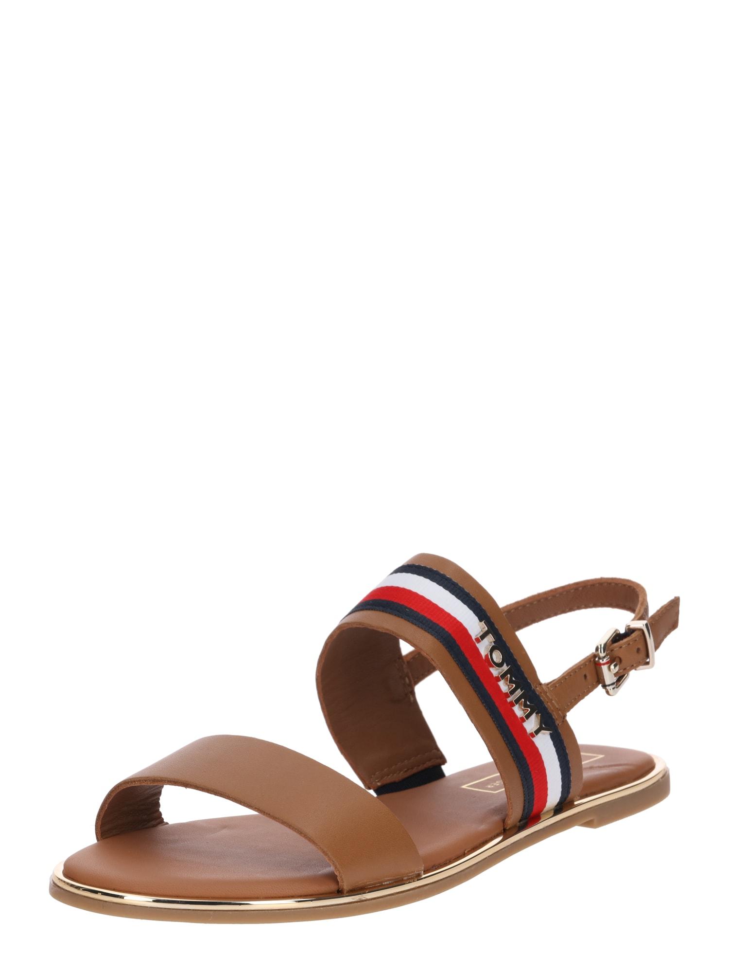 Páskové sandály Jennifer námořnická modř karamelová světle červená bílá TOMMY HILFIGER