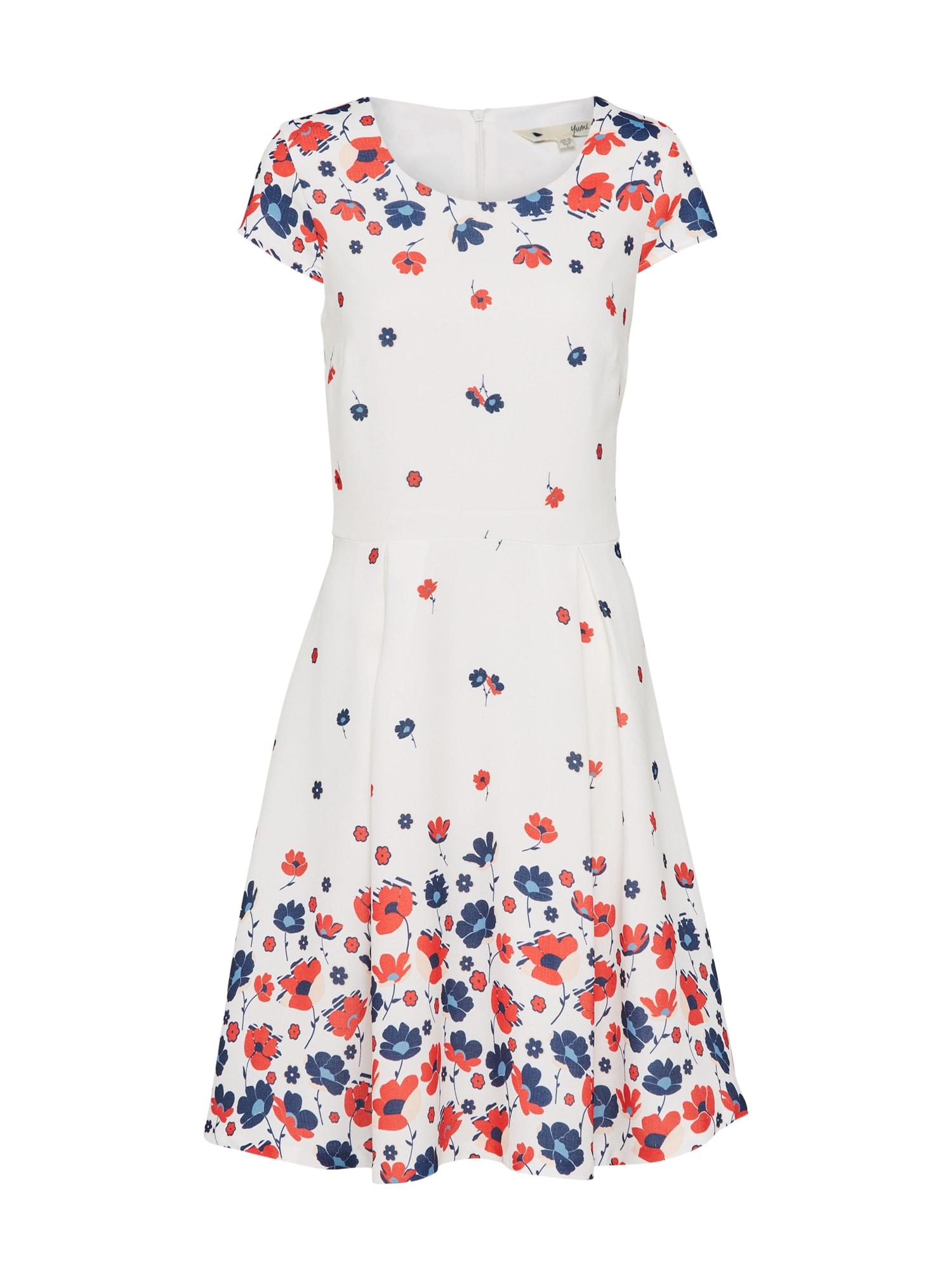 Šaty FLORAL modrá červená bílá Yumi
