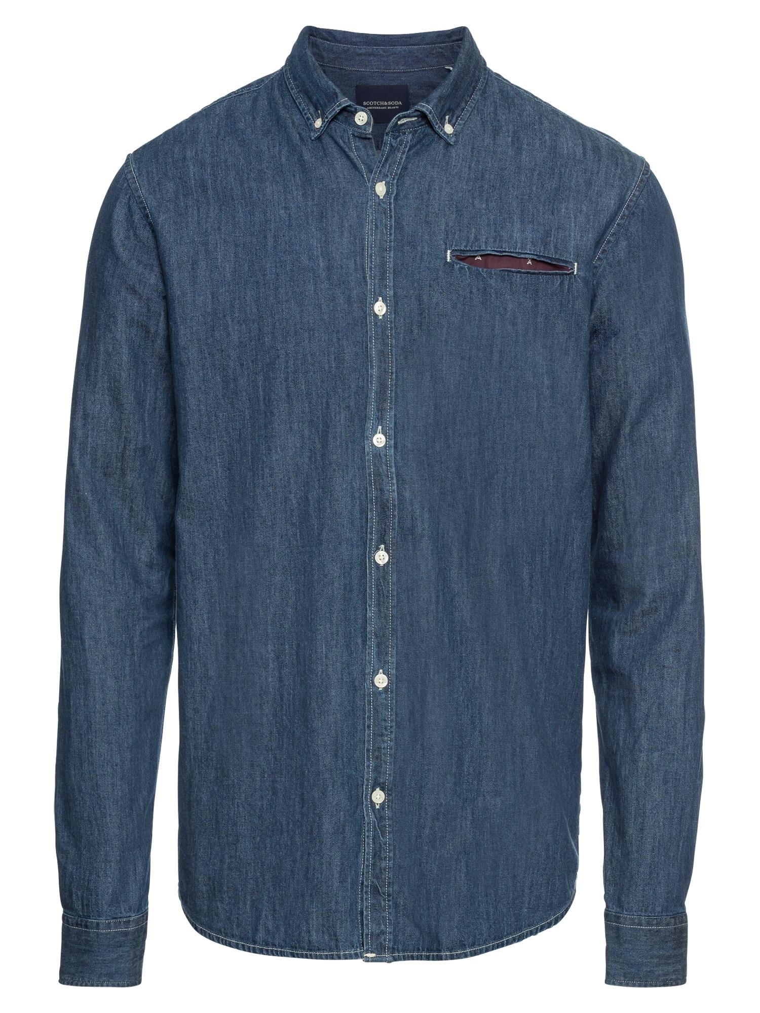 Košile REGULAR FIT 1 pocket clean denim shirt with pochet modrá SCOTCH & SODA