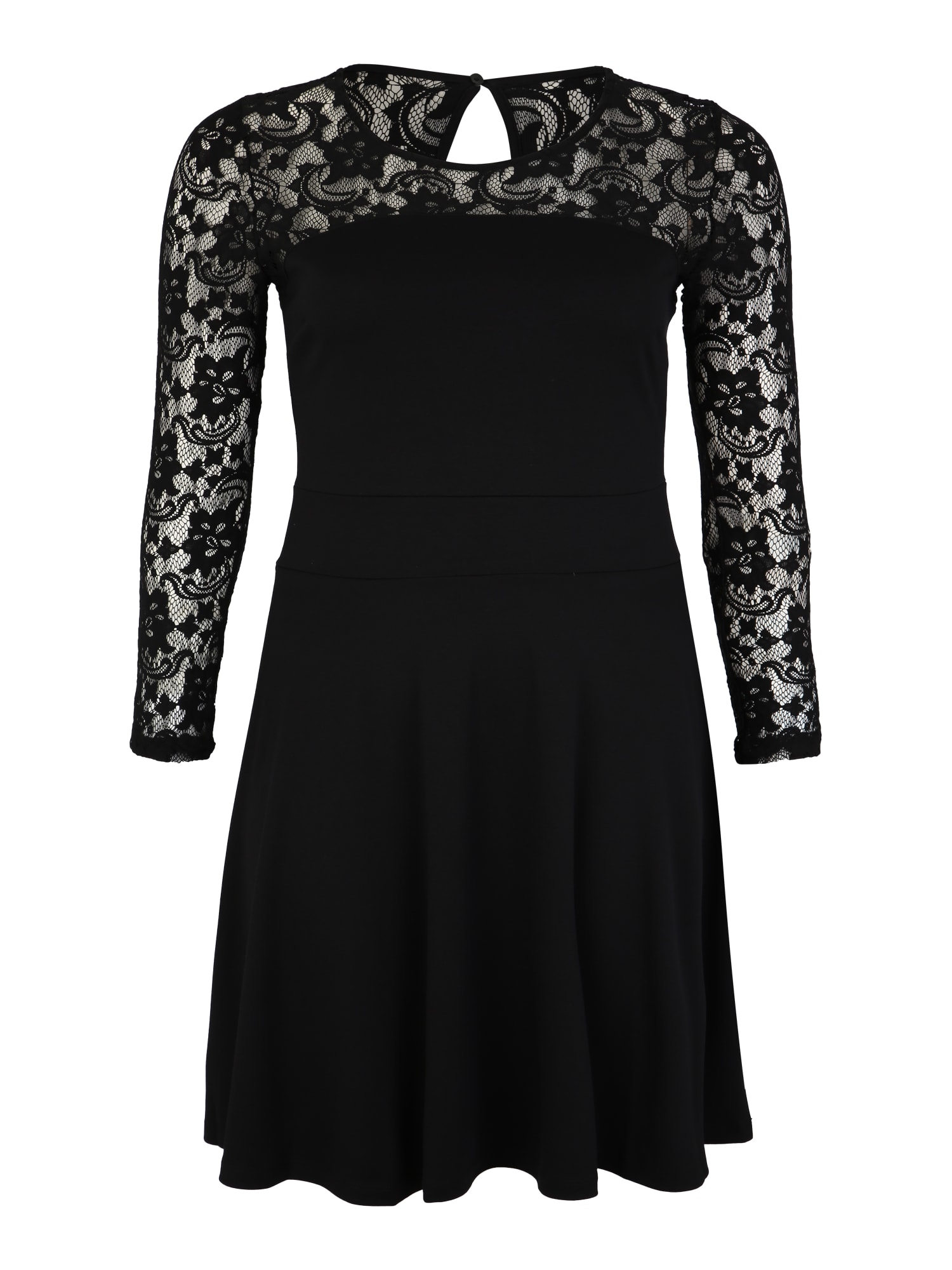 Koktejlové šaty Jersey Dress with lace longsleeves černá Anna Field Curvy
