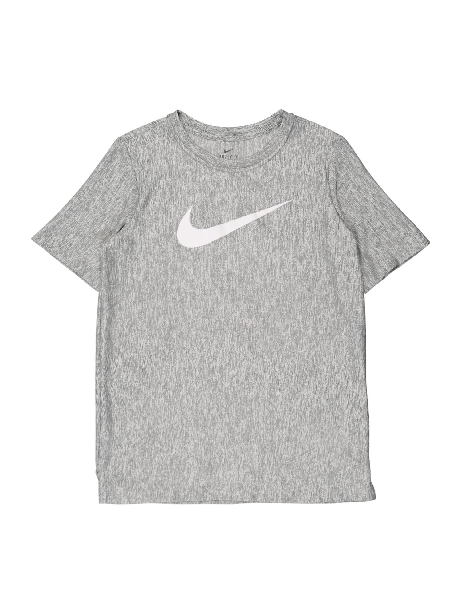 NIKE Funkčné tričko  sivá / biela