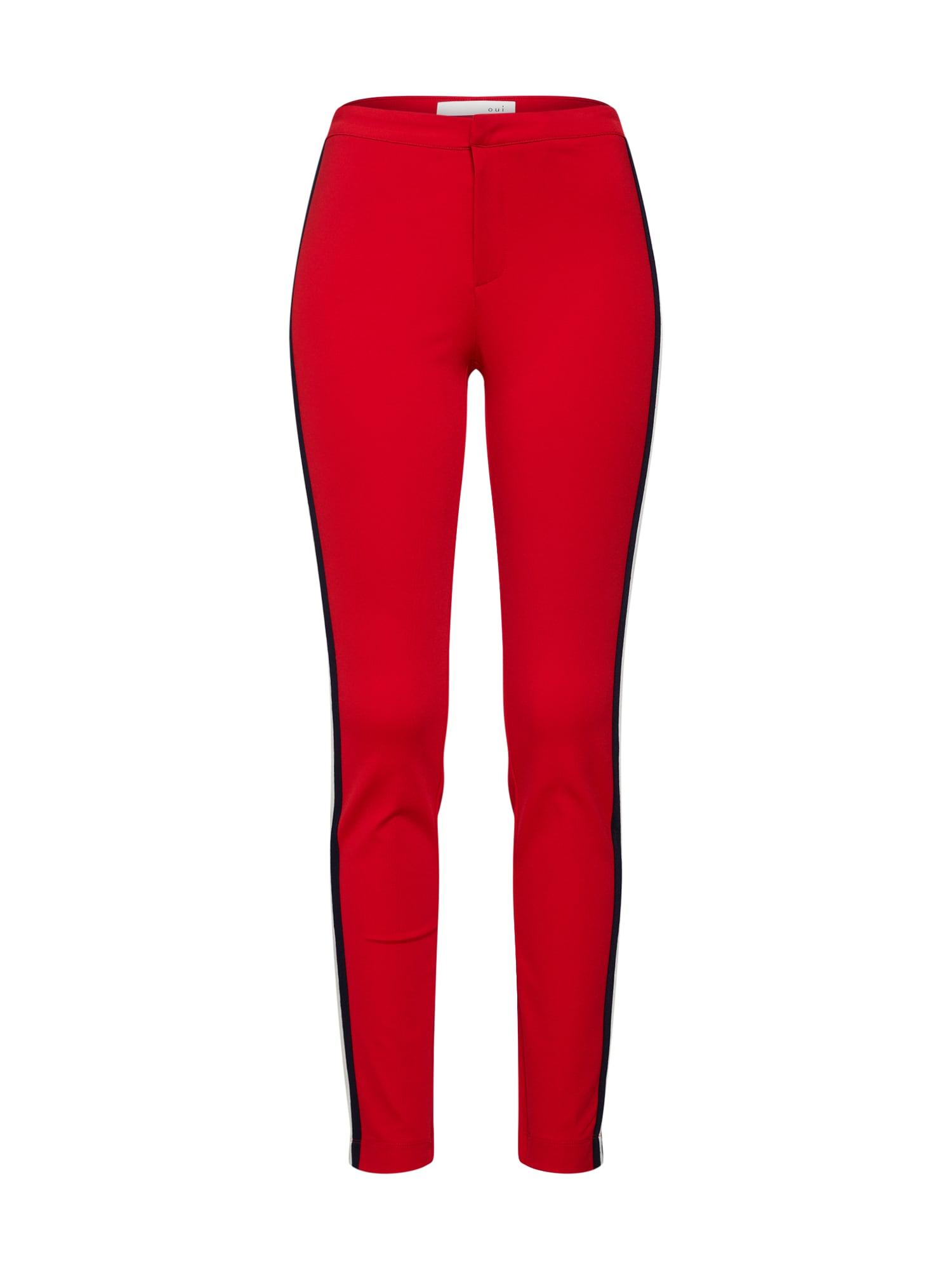 Kalhoty červená třešeň černá bílá OUI