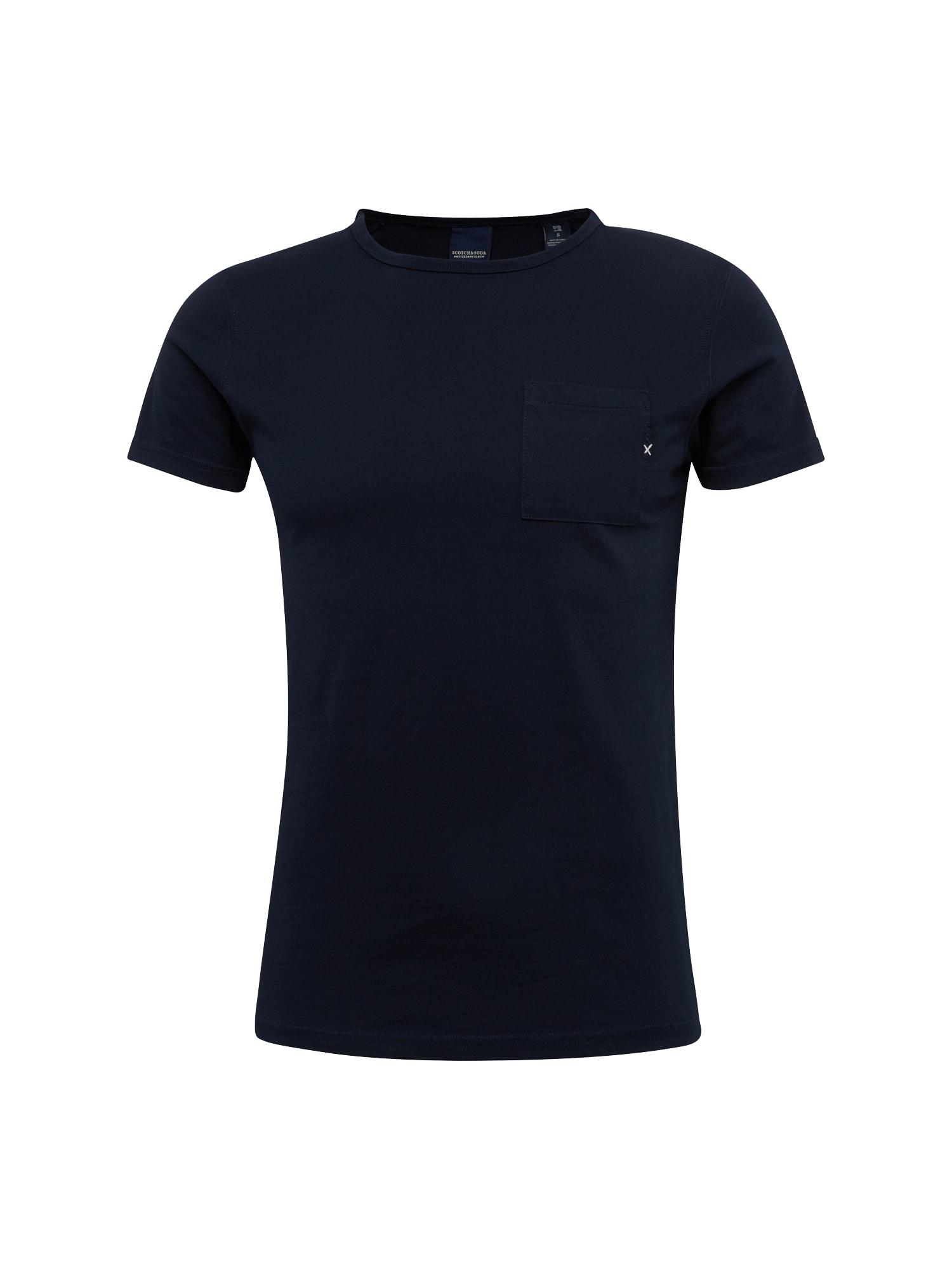 SCOTCH  and  SODA Heren Shirt Ams Blauw 1 pocket tee in seasonal colours navy