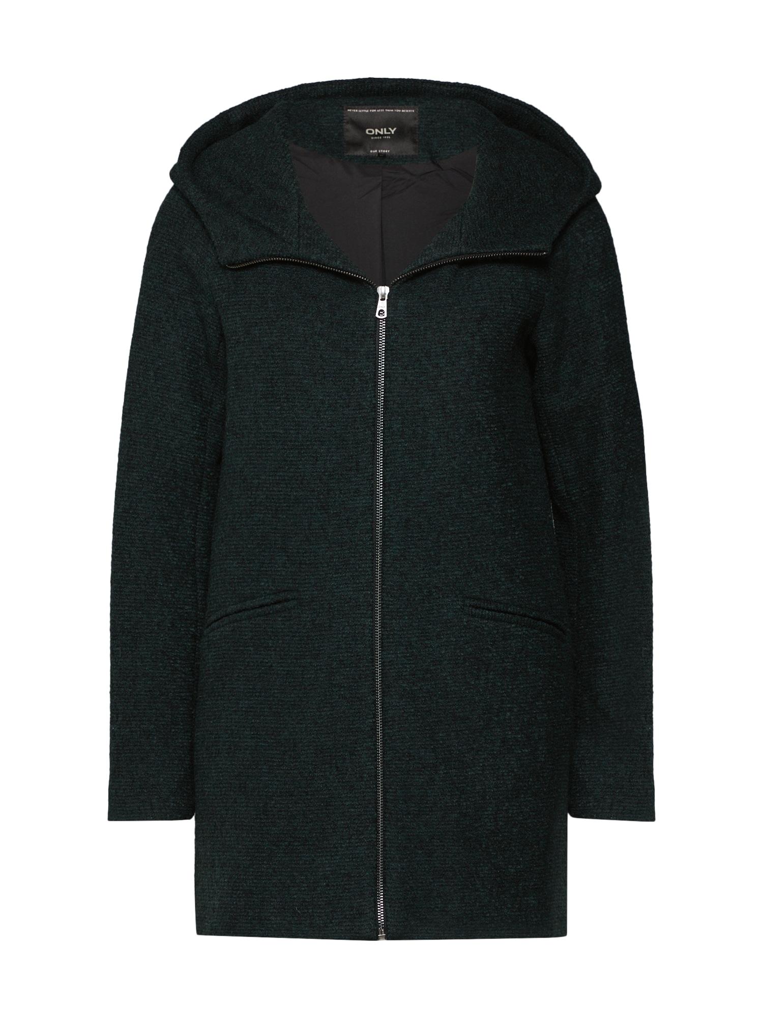 Zimní kabát onlANEMONE HOODED WOOL COAT zelená khaki ONLY