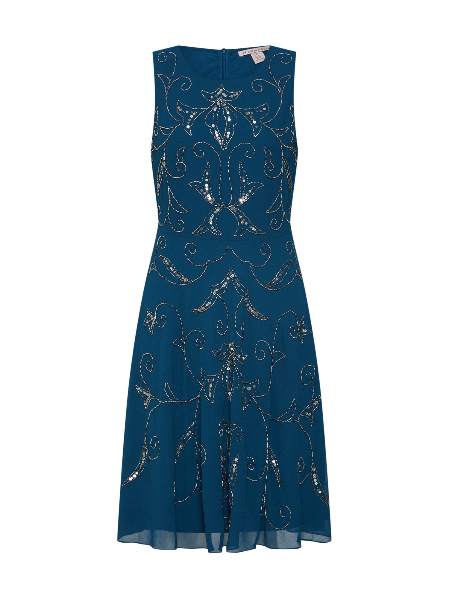 Anna Field Jurk 'flower vine embellishmentshort dress' petrol