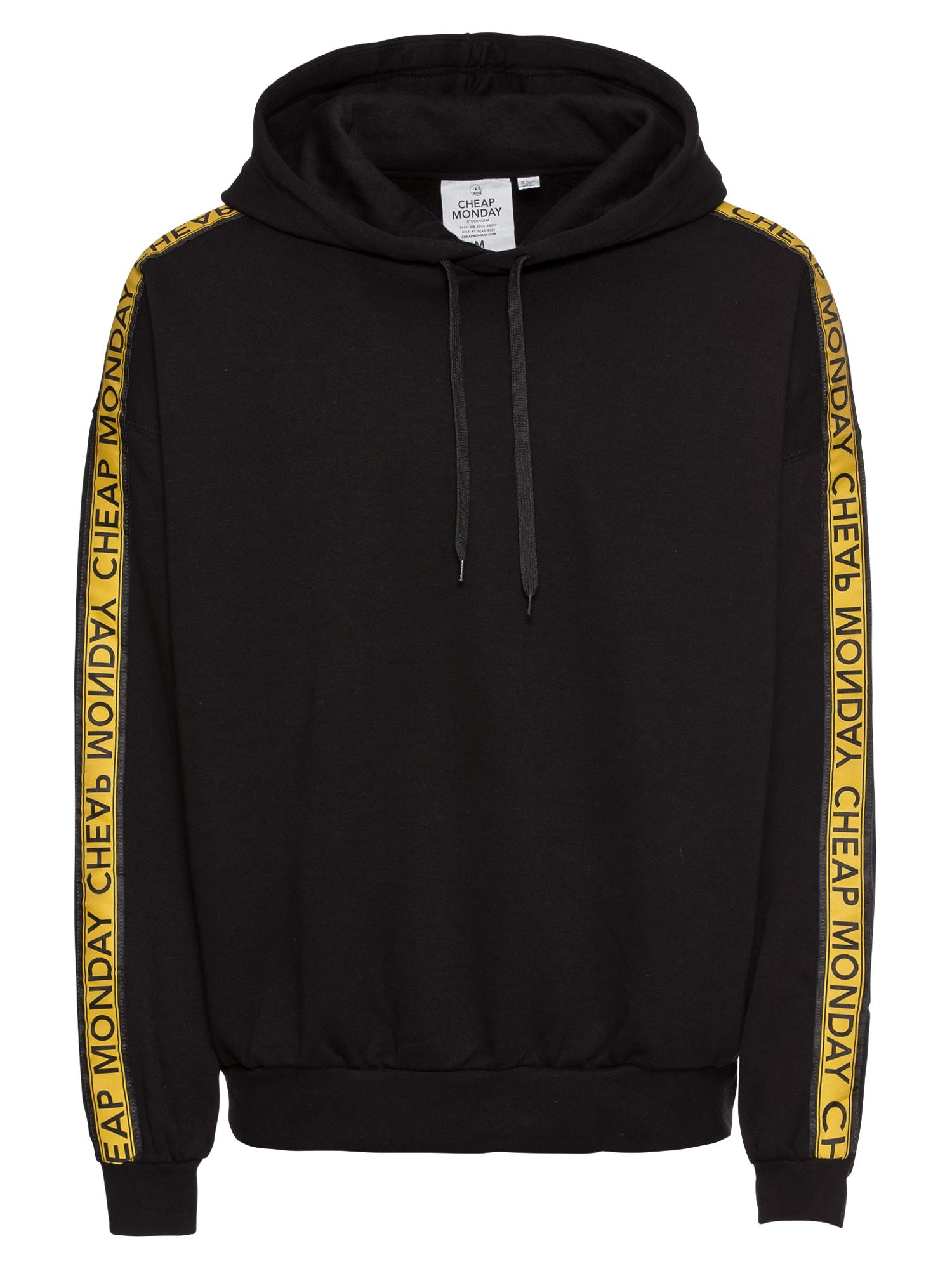 CHEAP MONDAY Heren Sweatshirt Goal logo hood geel zwart