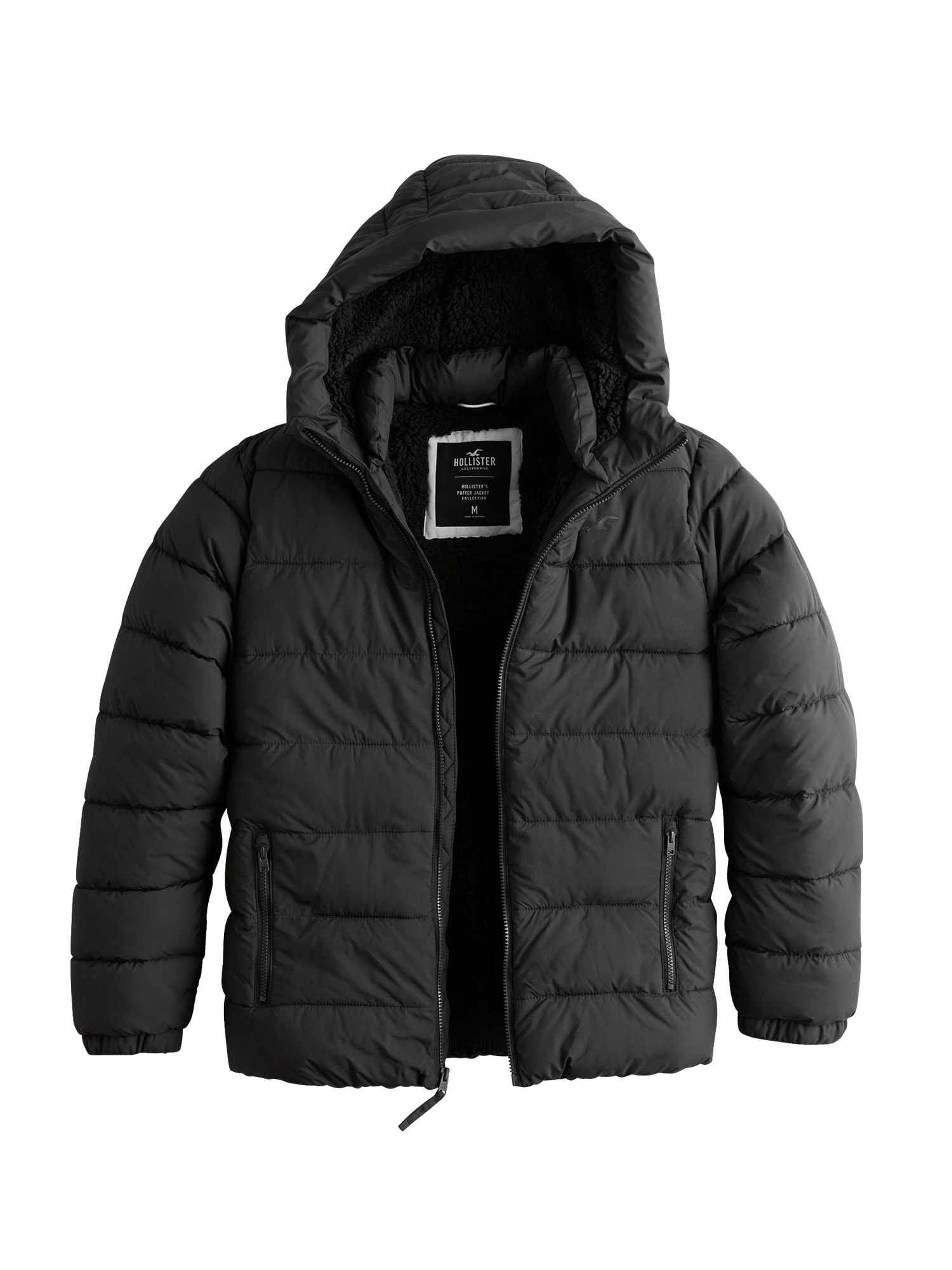 HOLLISTER Zimní bunda 'TRUE PUFFER FUR/SHERPA 2CC'  šedá / černá