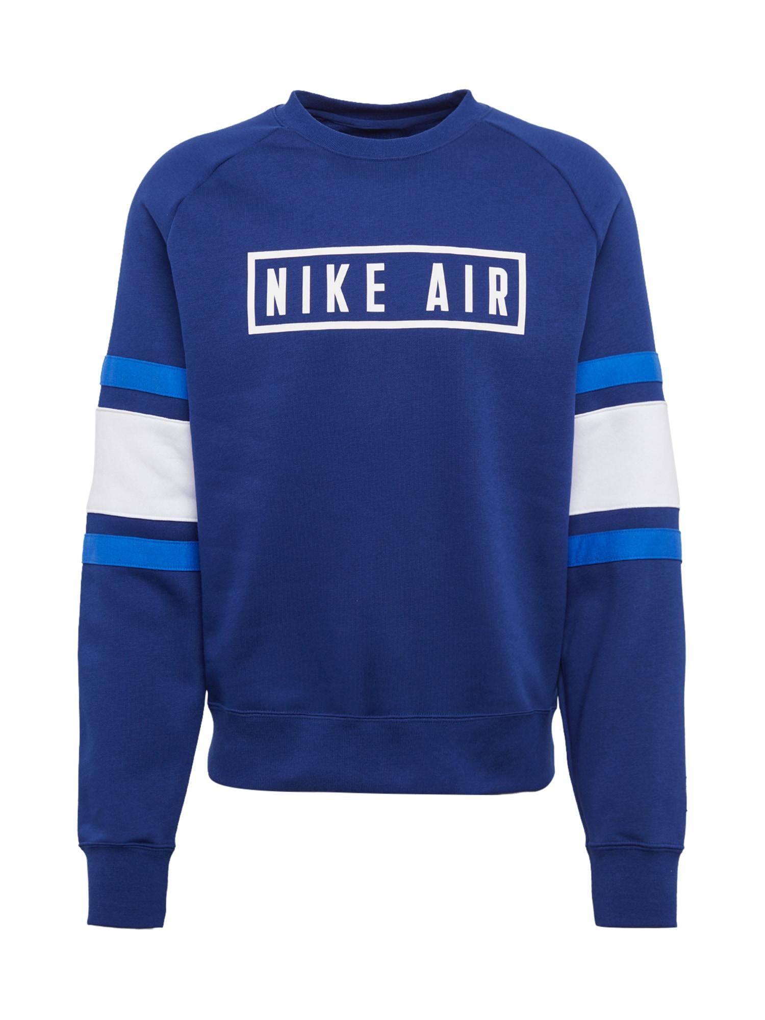 Nike Sportswear Mikina  modrá / světle šedá / bílá