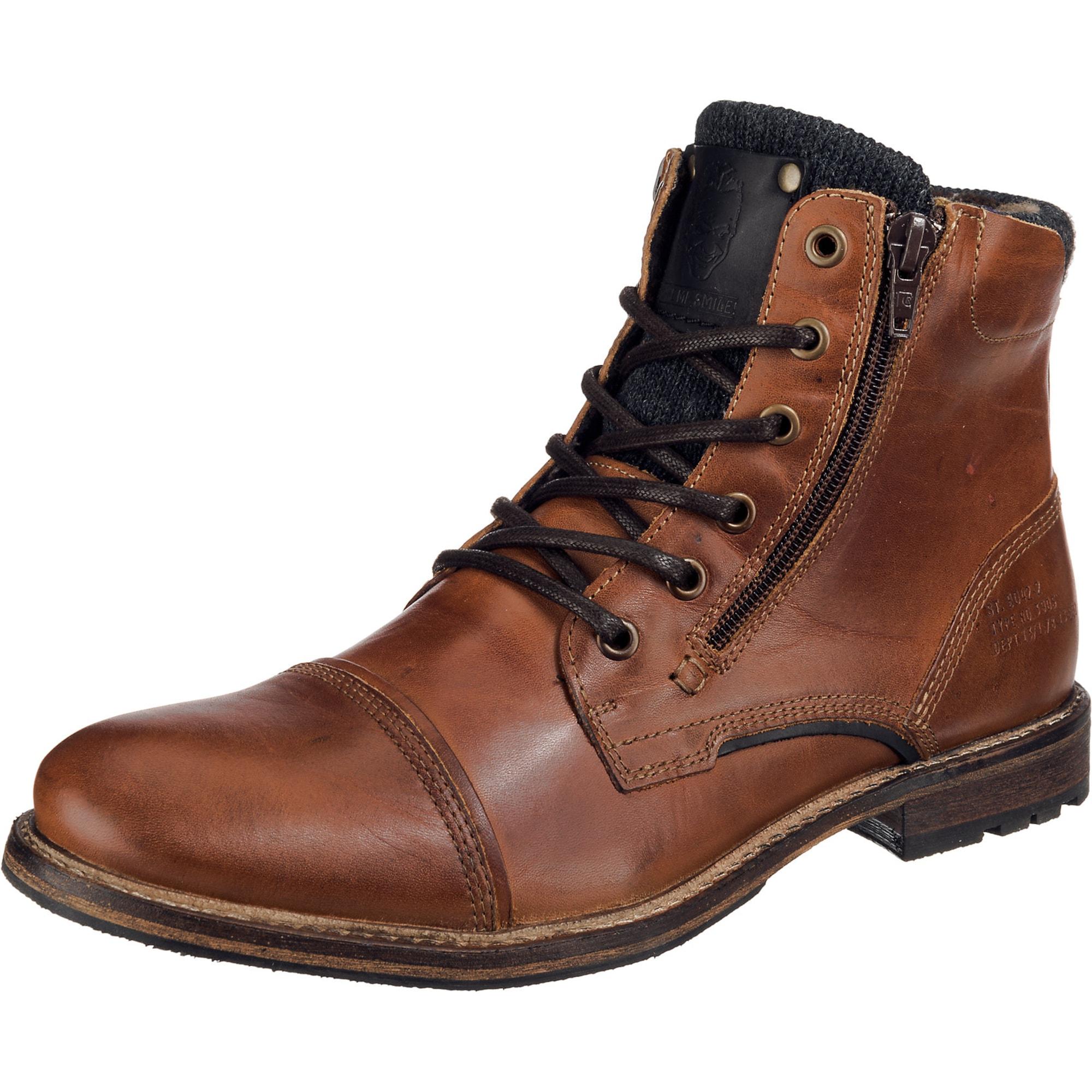 Šněrovací boty karamelová černá BULLBOXER