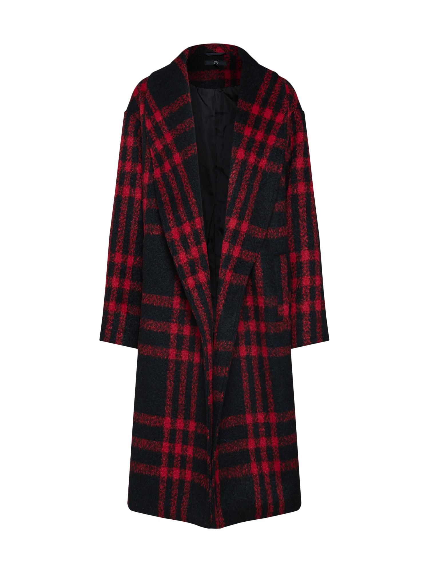 Přechodný kabát Check Shawl Collar Coat červená černá Missguided