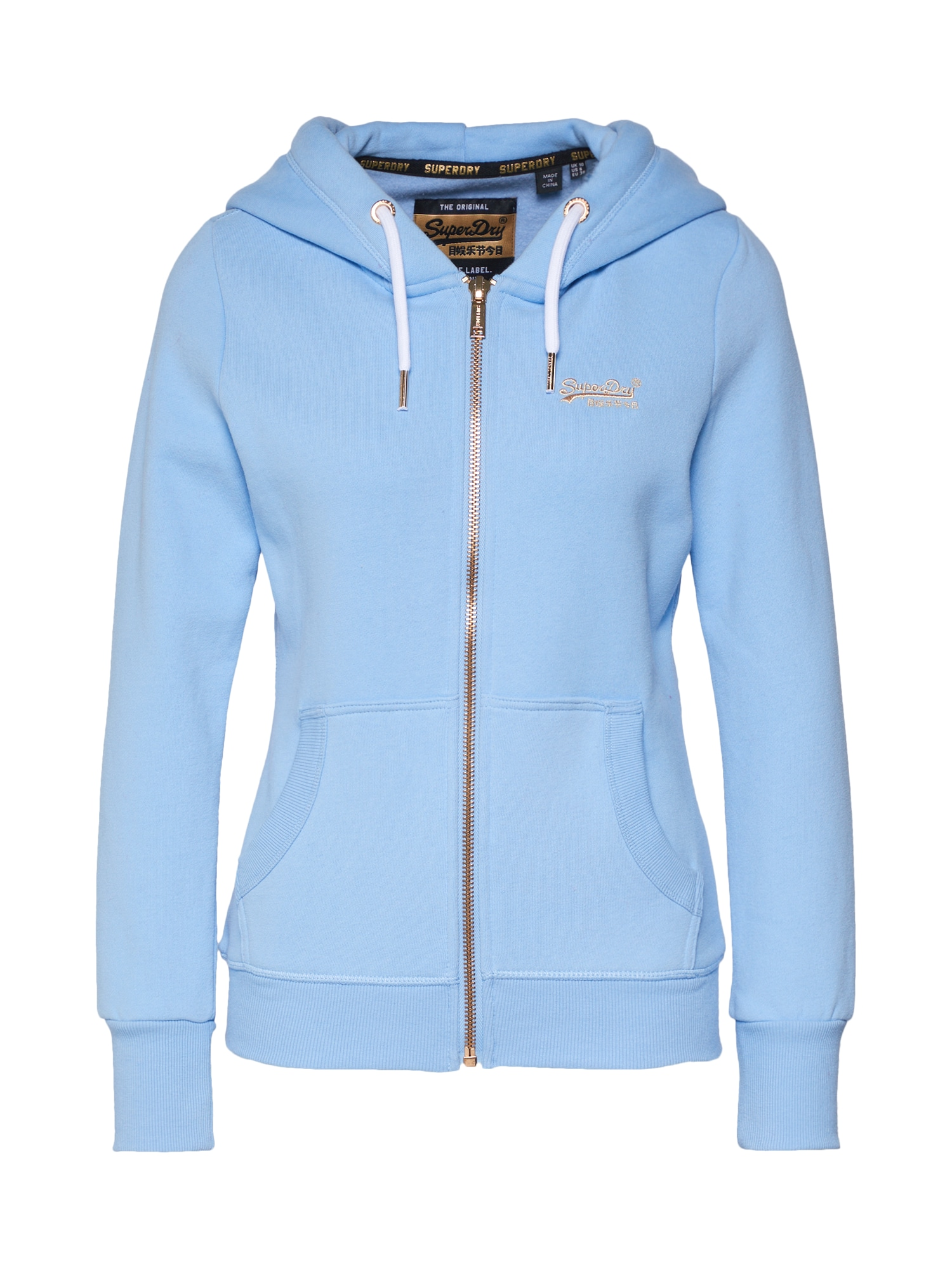 Mikina s kapucí ORANGE LABEL ELITE ZIPHOOD světlemodrá Superdry