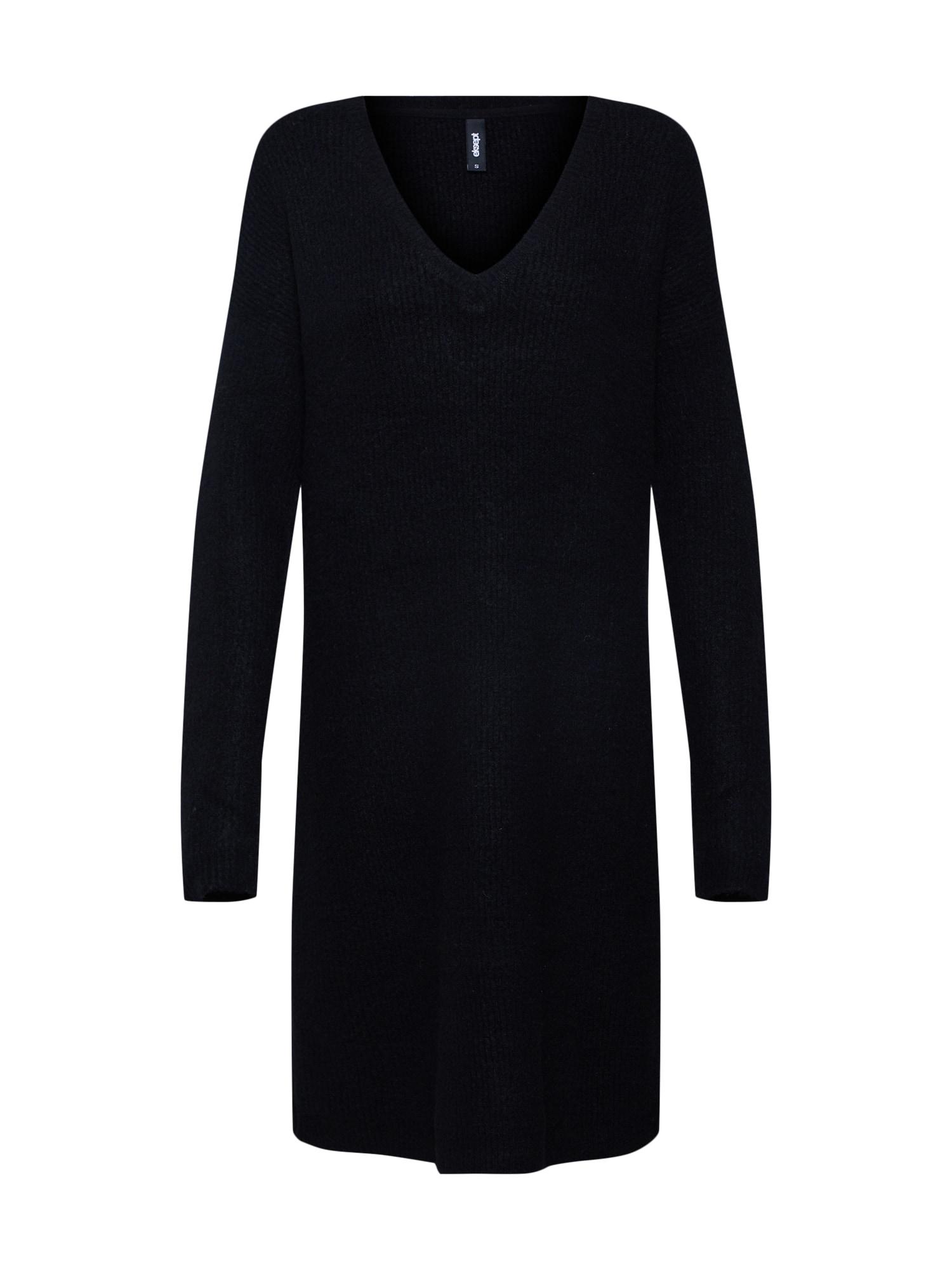Úpletové šaty Button Dress černá Eksept