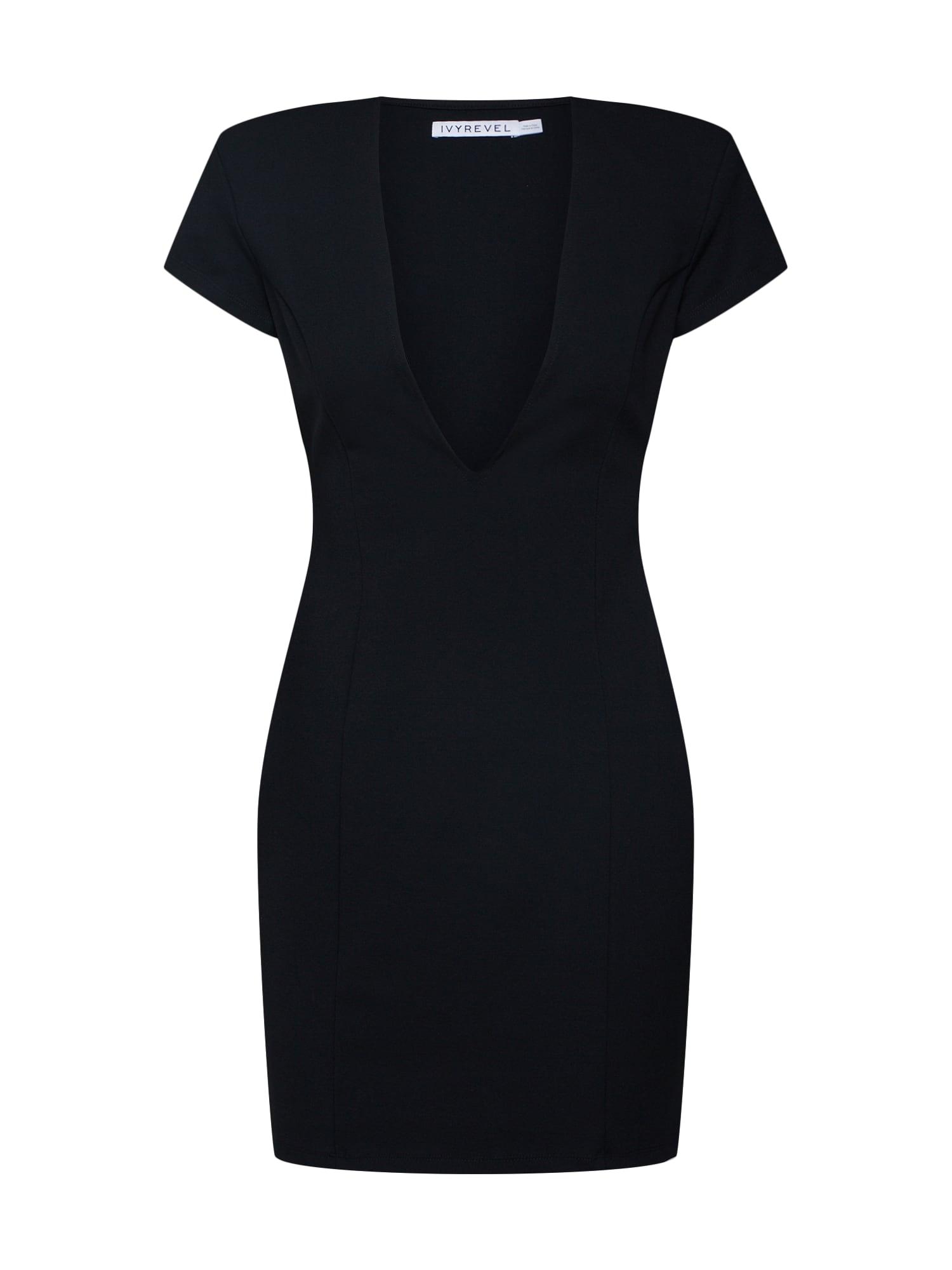 Koktejlové šaty CAPPED SLEEVE PLUNGE MINI DRESS černá IVYREVEL