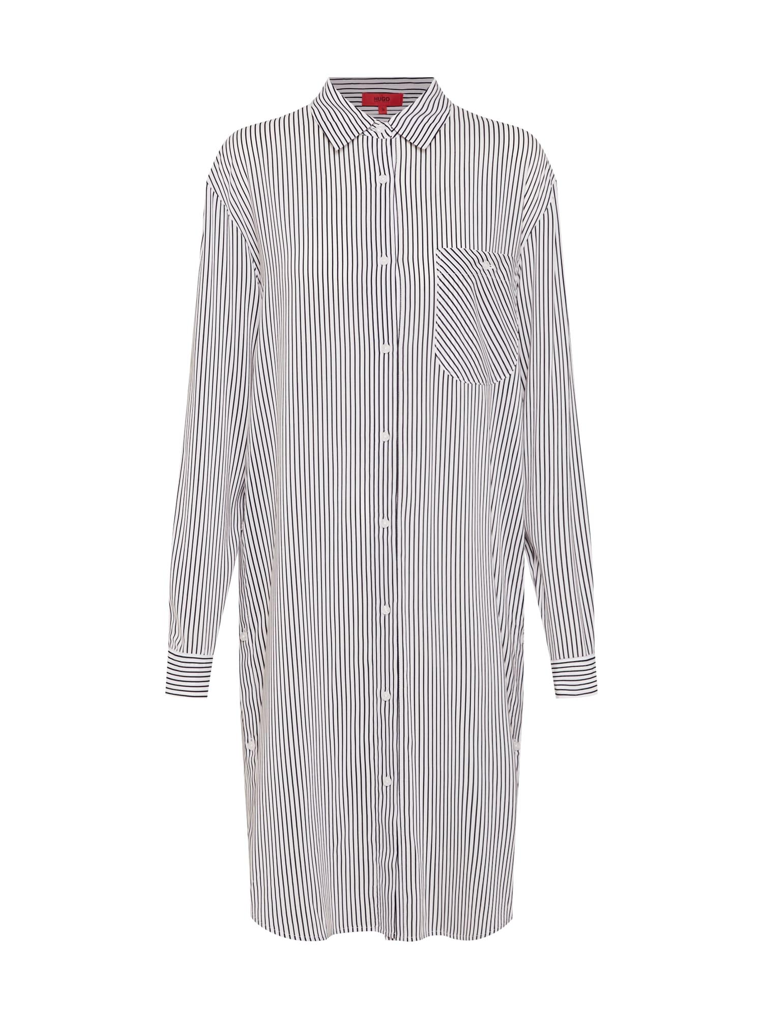 Košilové šaty Edith černá bílá HUGO